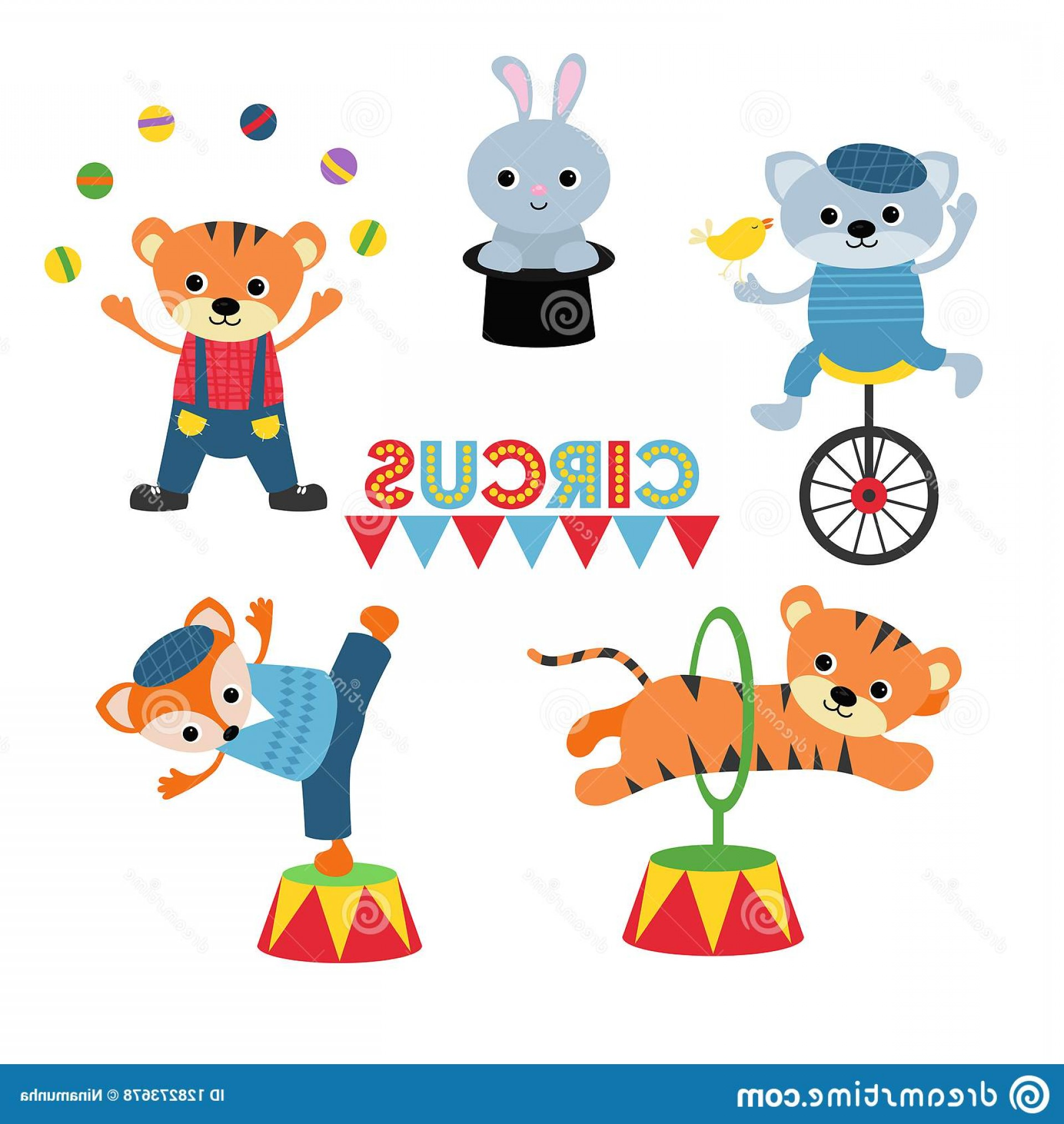 Circus Animals Vector Graphic: Circus Theme Set Animals Artists Different Actions Includes Cat Tiger Rabbit Hare Fox Image