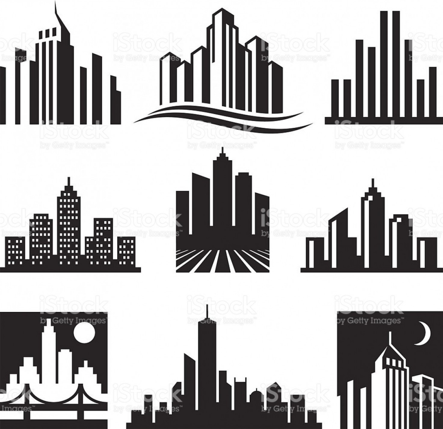 GM Logo Vector: City Buildings Logo Black White Vector Icon Set Gm