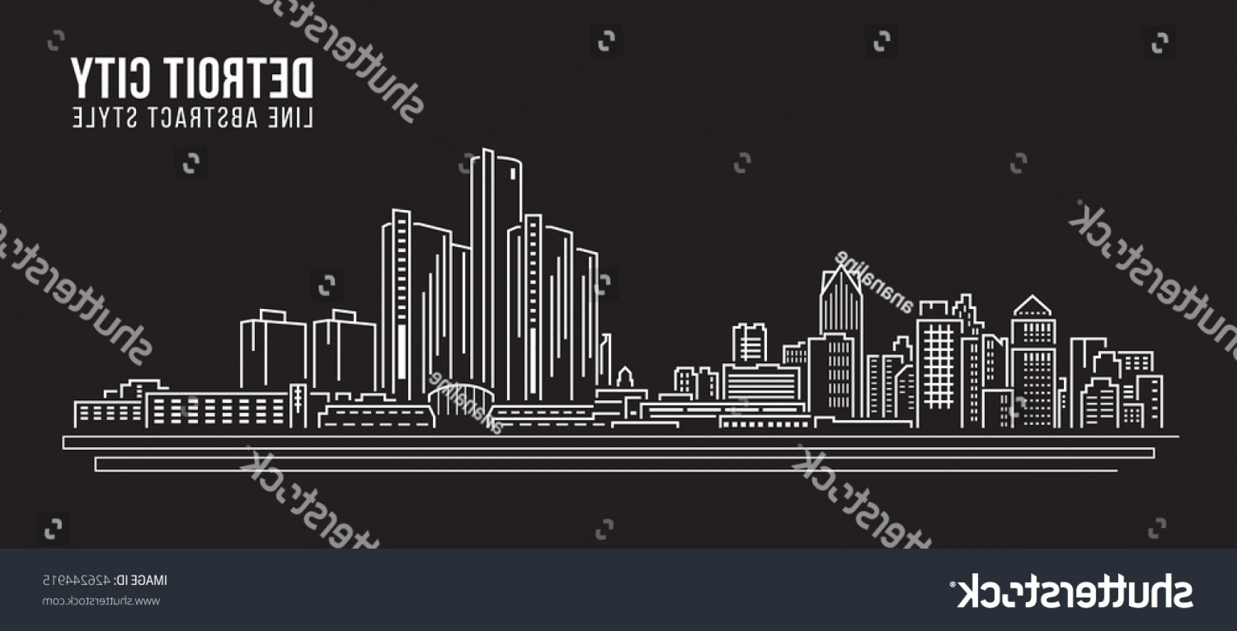 Vector Building Detroit: Cityscape Building Line Art Vector Illustration
