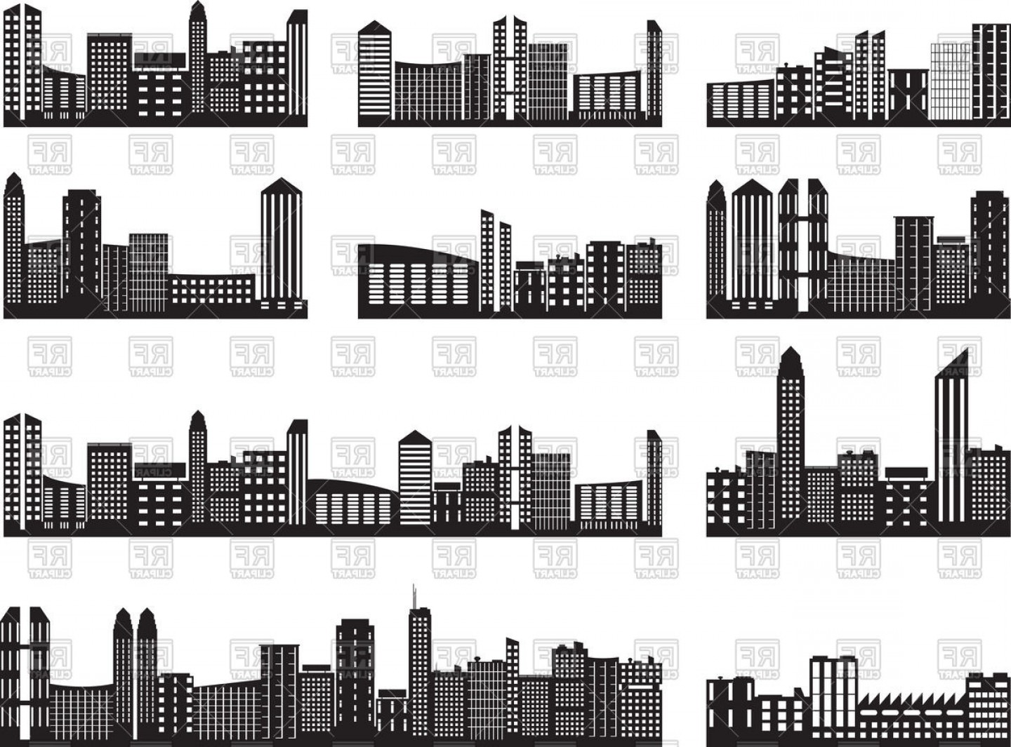 City Building Vector Free Download: Cityscape Silhouette Modern City Skyline With Skyscrapers Vector Clipart