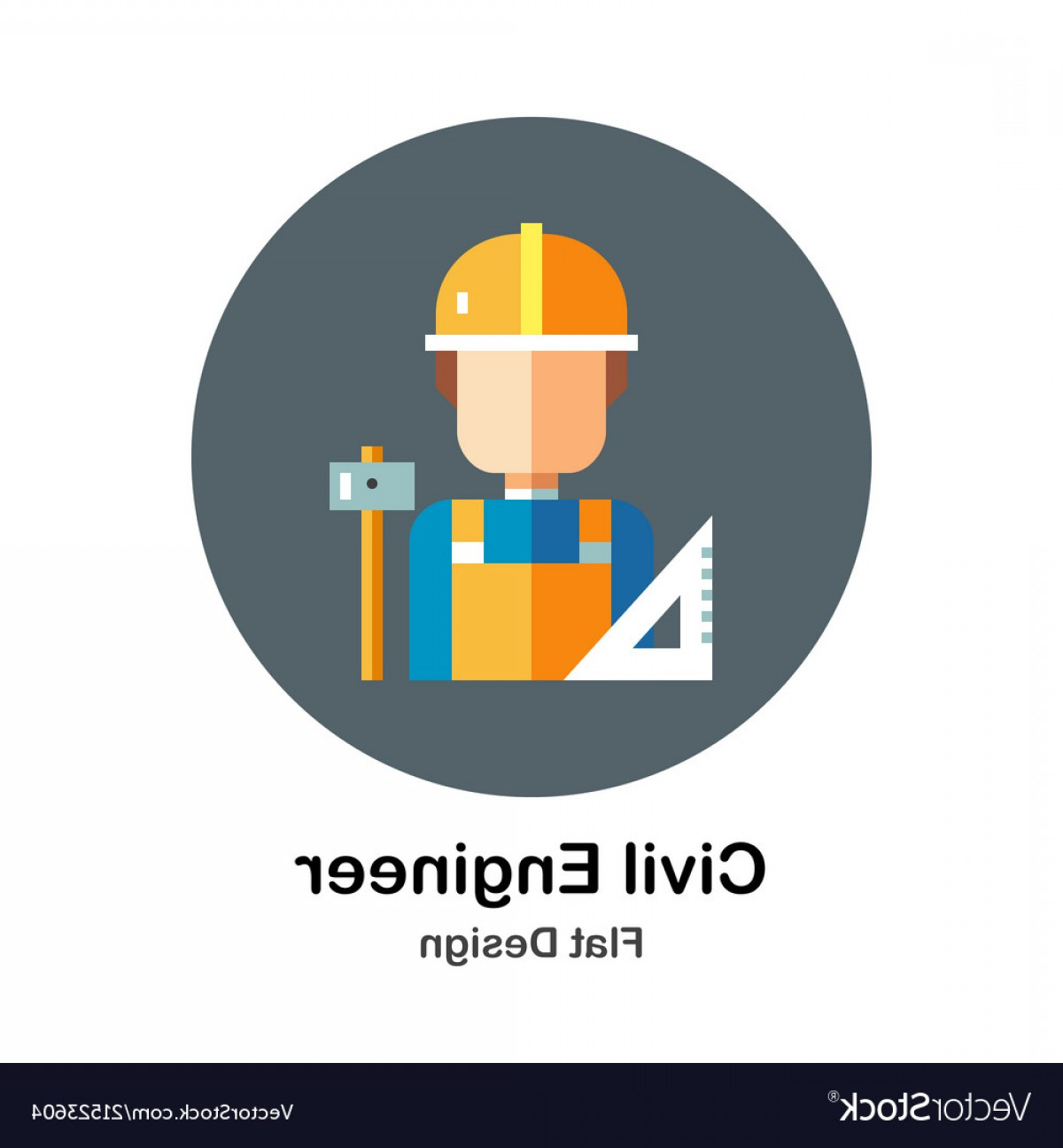 Vector Graphic Of Civil Engineering: Civil Engineer Flat Icon Vector