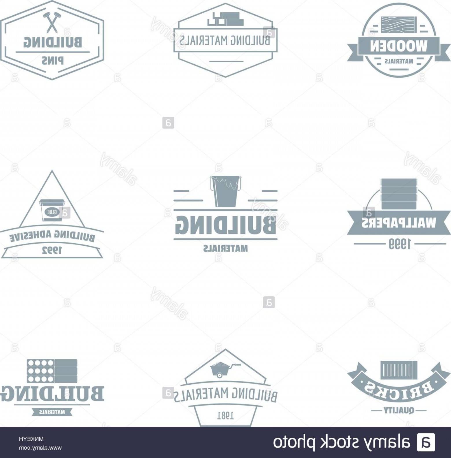 Vector Graphic Of Civil Engineering: Civil Engineering Logo Set Simple Style Image