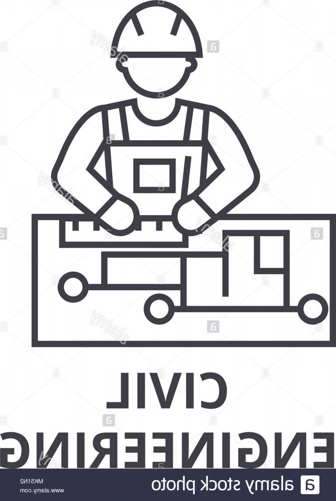 Vector Graphic Of Civil Engineering: Civil Engineering Vector Line Icon Sign Illustration On Background Editable Strokes Image