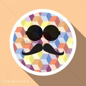 Vector Circle Sunglasses: Circle With Sunglasses And A Moustache