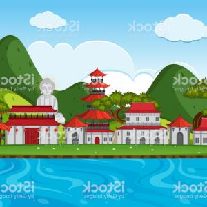 River Vector Art: City Scene With Chinese Buildings Along The River Gm