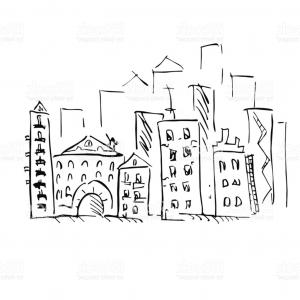 Quarter Coin Vector Art: City Vector Illustration Doodle Art Freehand Outline Ink Hand Drawn Picture Object Gm