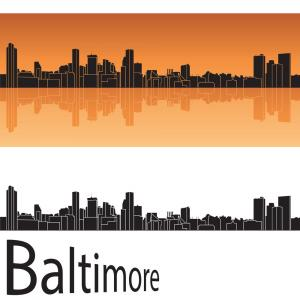 Baltimore City Skyline Vector: Cityscape Clipart Flat Vector