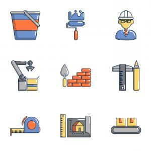 Vector Graphic Of Civil Engineering: Civil Engineering Icons Set Cartoon Style Vector