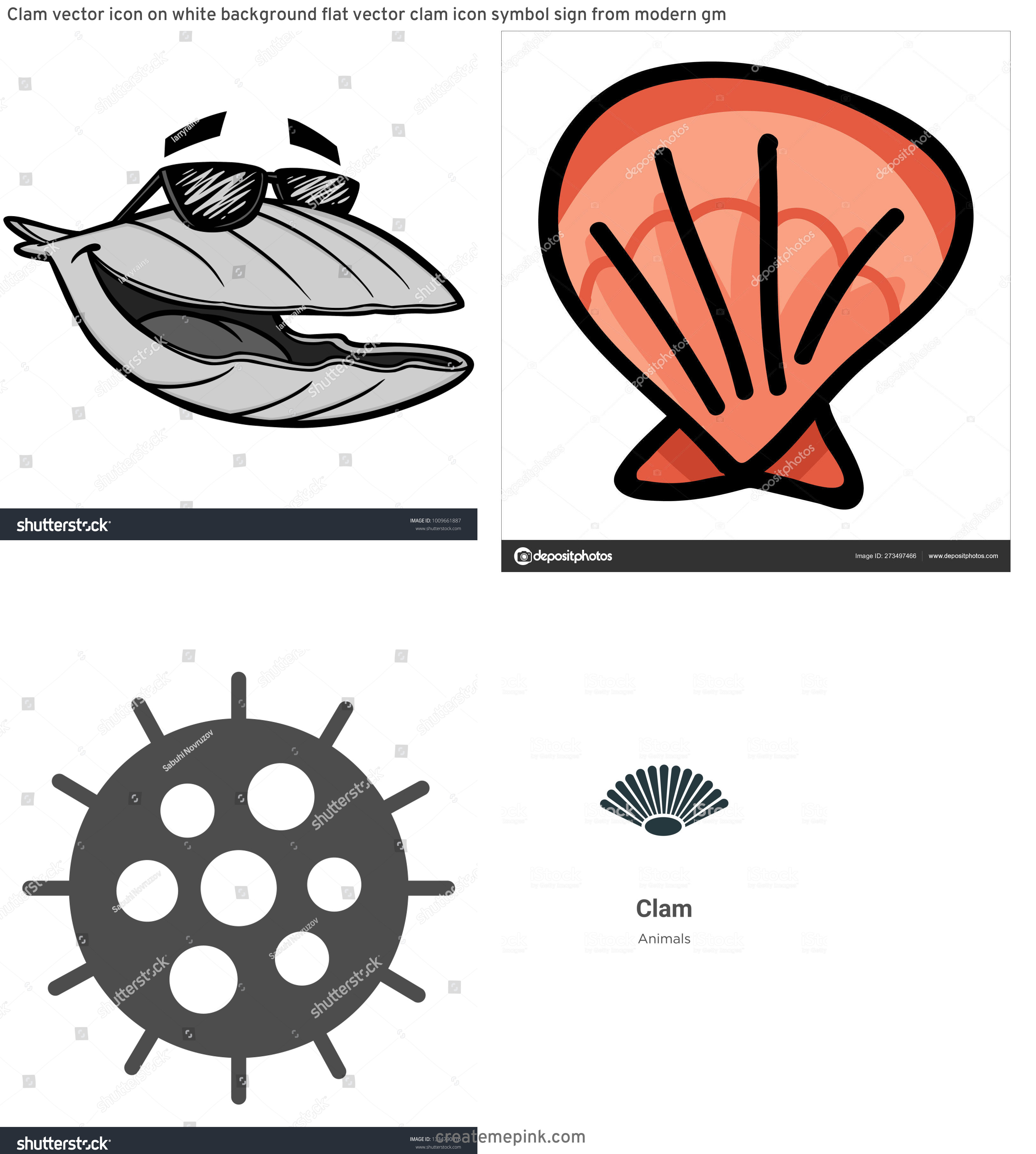 Clam Vector: Clam Vector Icon On White Background Flat Vector Clam Icon Symbol Sign From Modern Gm
