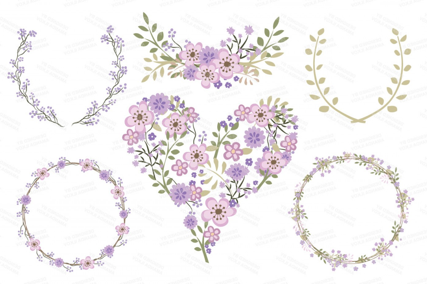 Lilac Wedding Vectors: Clara Vintage Floral Wedding Heart Clipart In Lavender