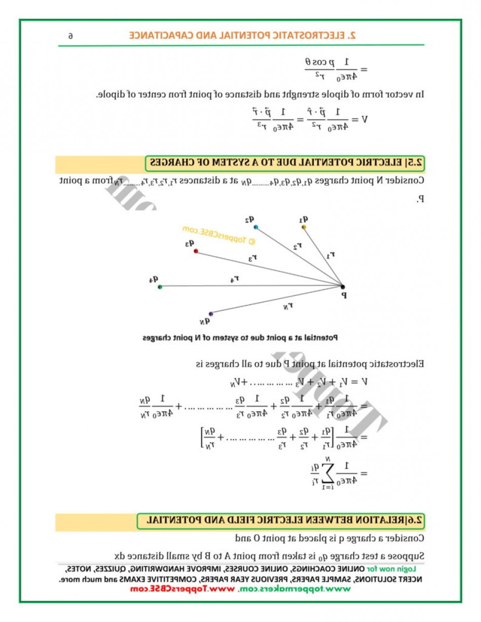 Electric Potential Is A Vector: Class Physics Notes Of Chapter Electrostatic Potential And Capacitance