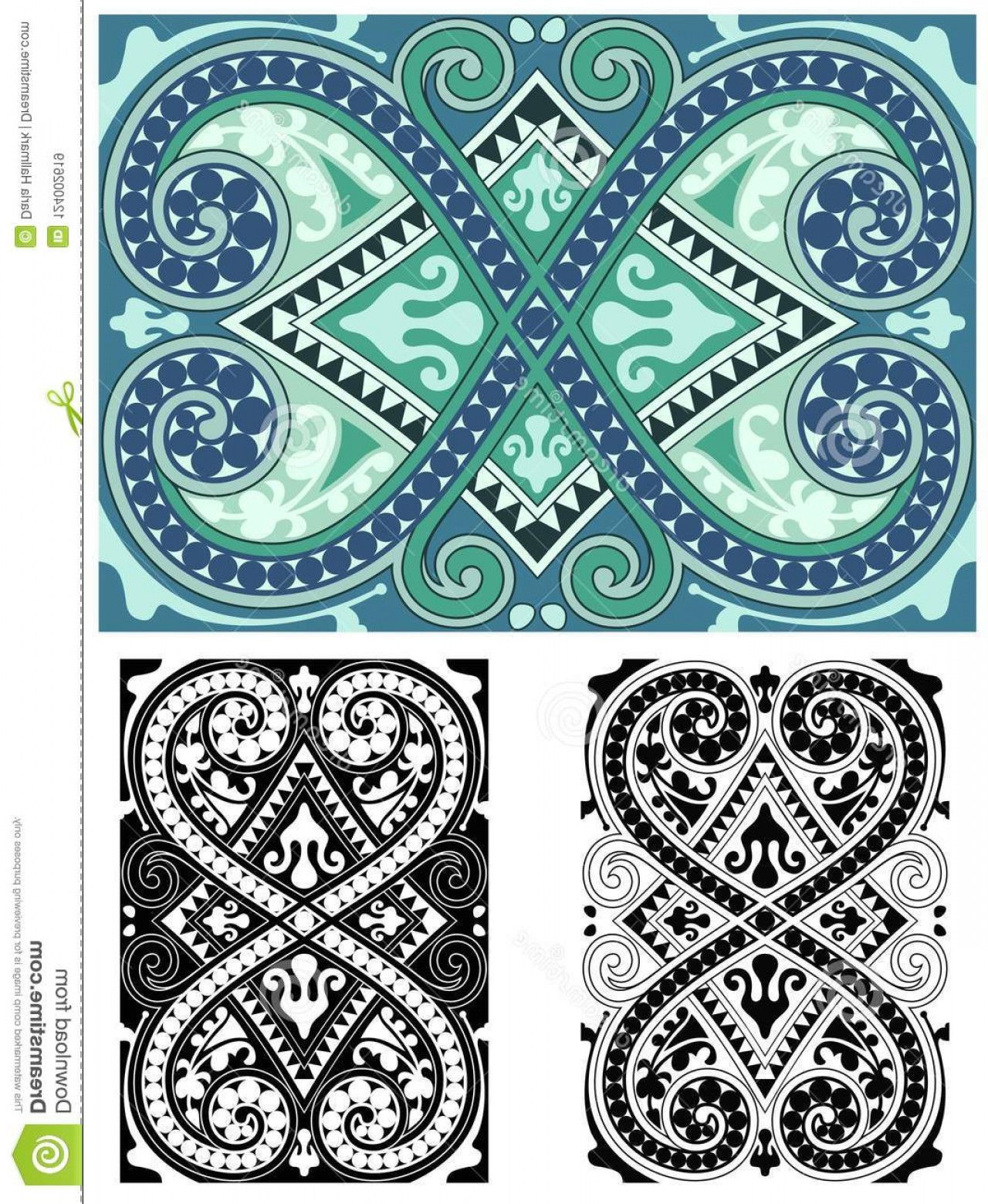 Aqua Victorian Medallions Vectors: Classic Abstract Ornate Tile Seamless Blues Classical Blast Abstract Ornate Seamless Design Classic Victorian Style Comes Image