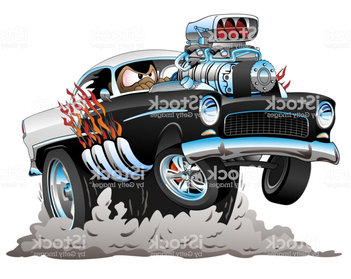 Classic Street Rod Vector Art: Classic American Fifties Style Hot Rod Funny Car Cartoon Vector Illustration Gm