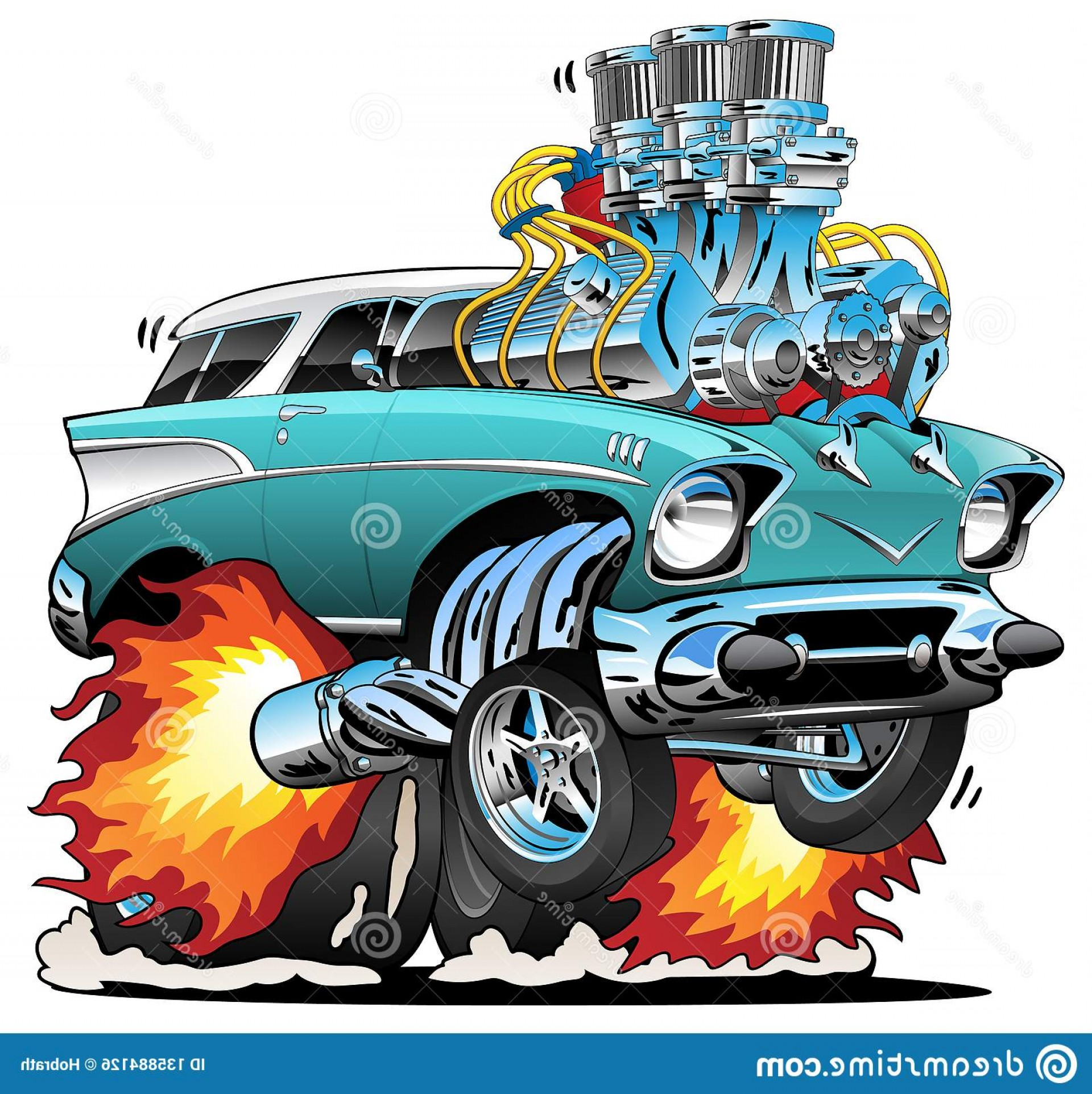 Classic Street Rod Vector Art: Classic Fifties Hot Rod Muscle Car Cartoon Vector Illustration Awesome Old School Style Station Wagon Popping Wheelie Huge Image