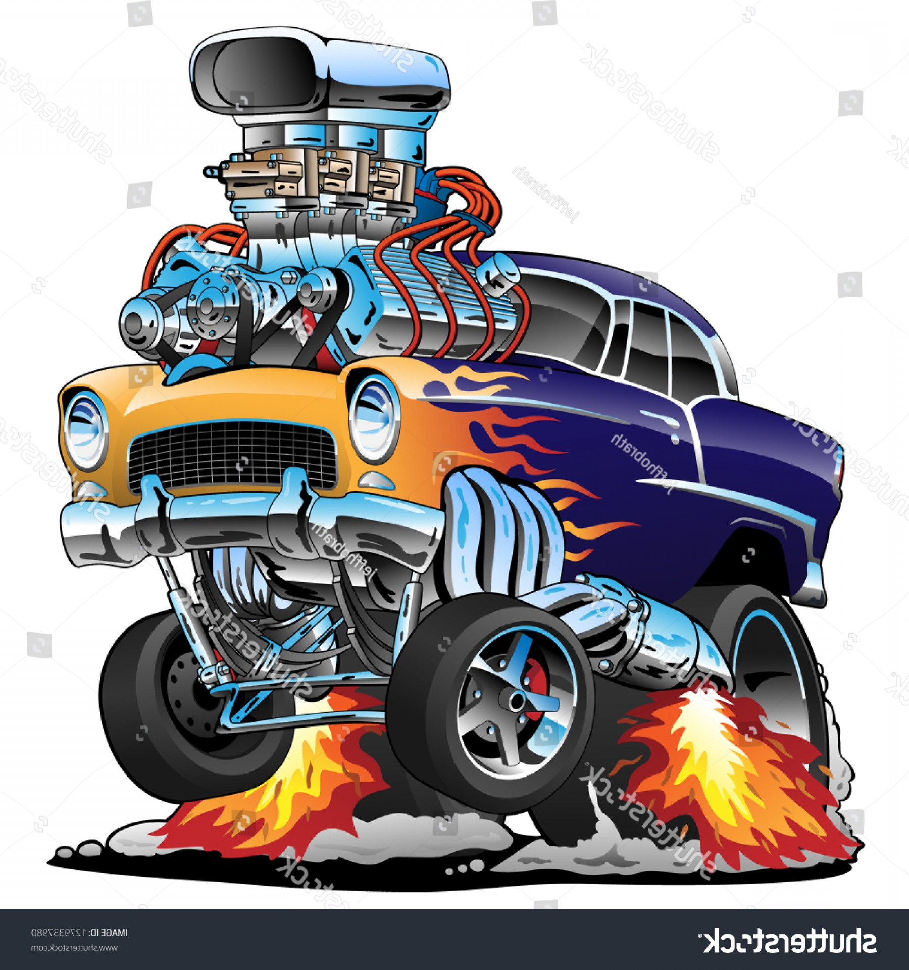Classic Street Rod Vector Art: Classic Hot Rod Muscle Car Flames