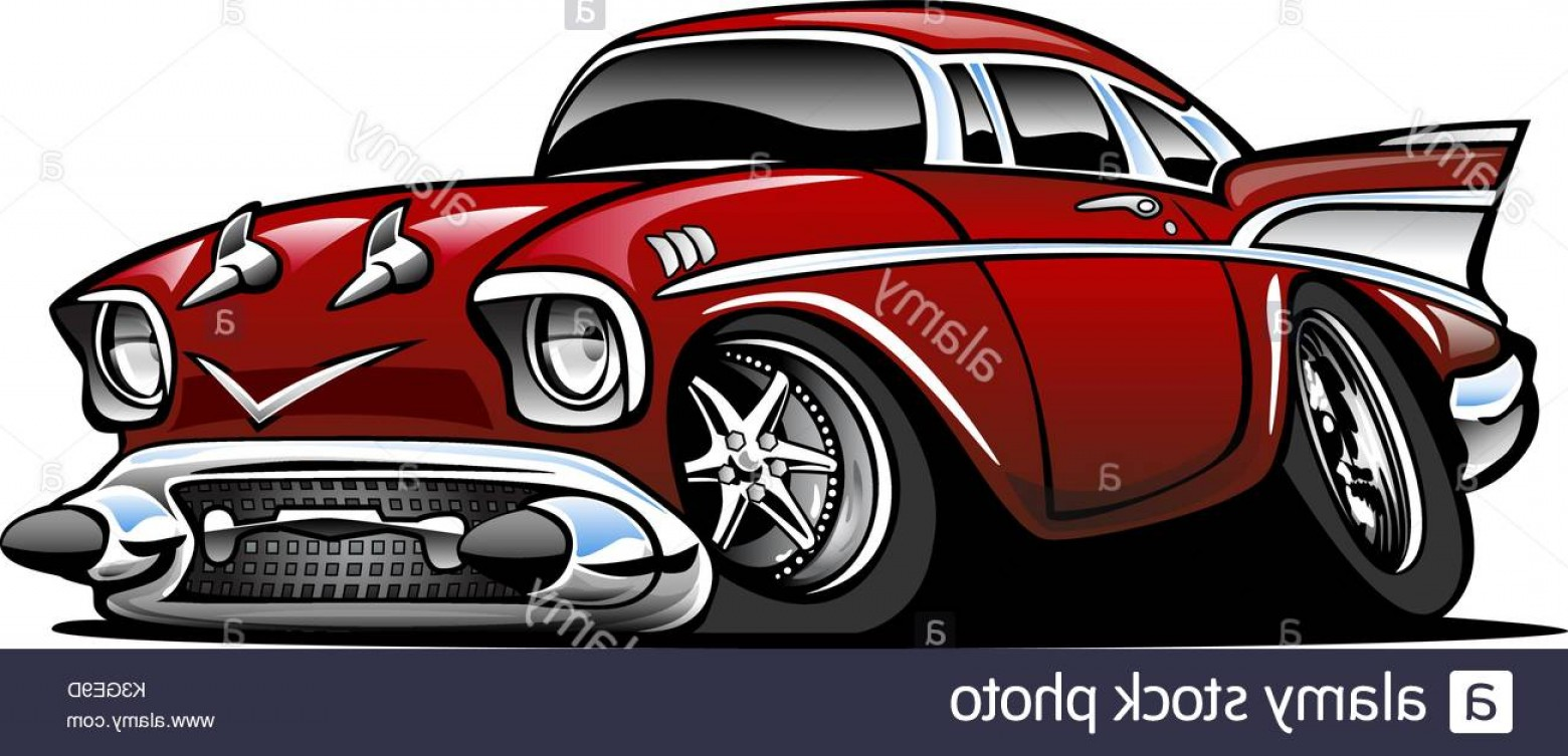 Classic Street Rod Vector Art: Classic Muscle Car Hot Rod Cartoon Illustration Image