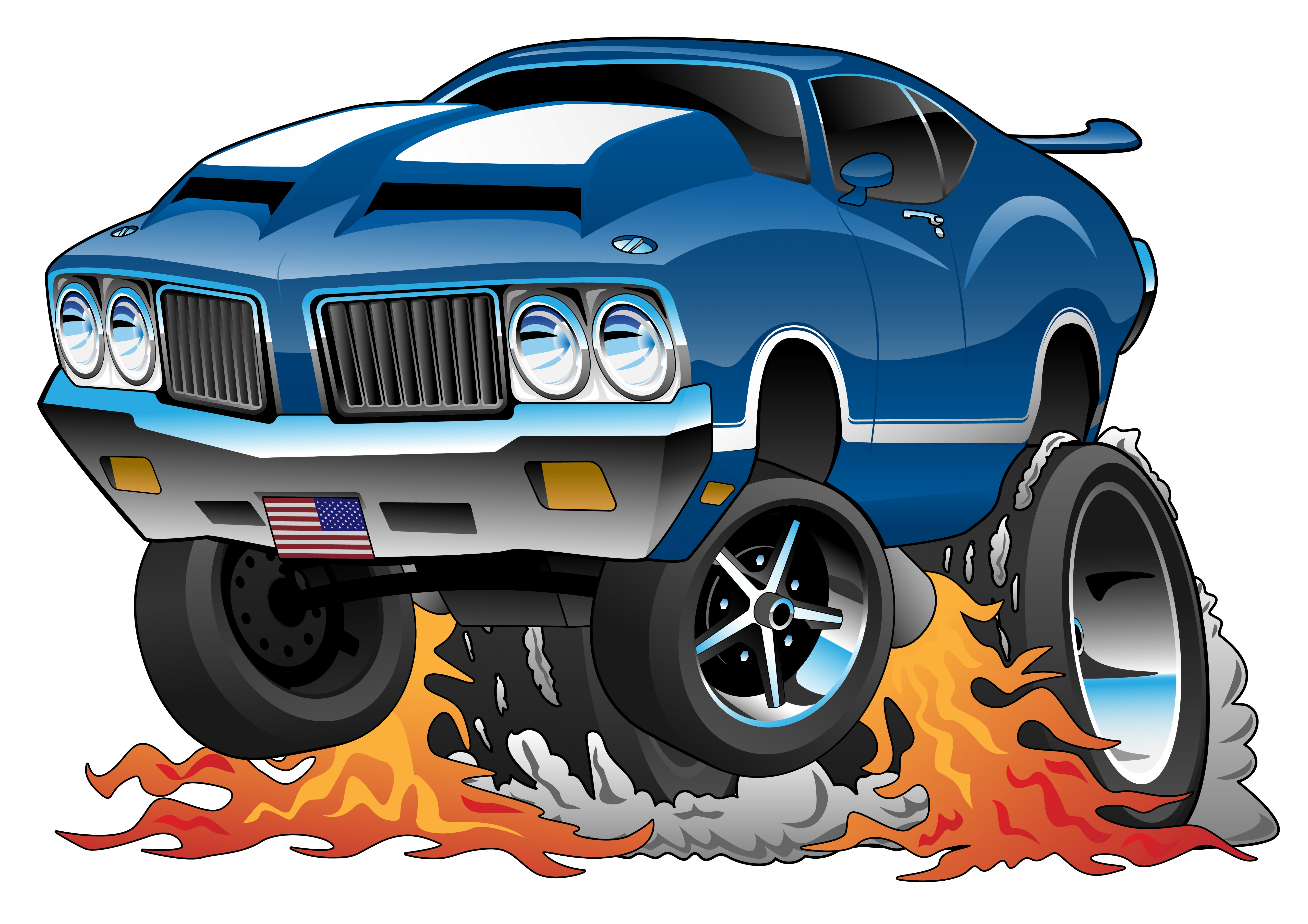 Classic Street Rod Vector Art: Classic Seventies American Muscle Car Hot Rod Cartoon Vector Illustration