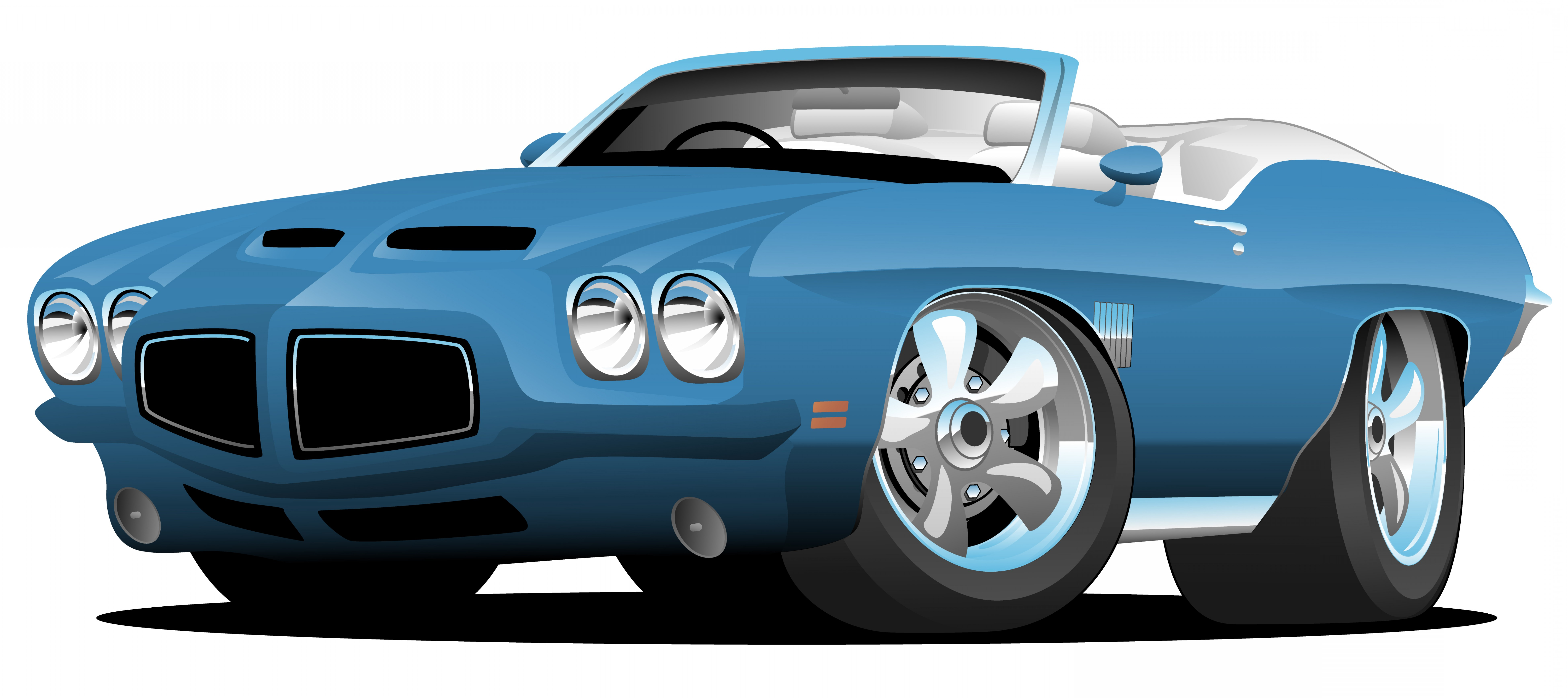 Custom Police Cars Vector: Classic Seventies Style American Convertible Muscle Car Cartoon Vector