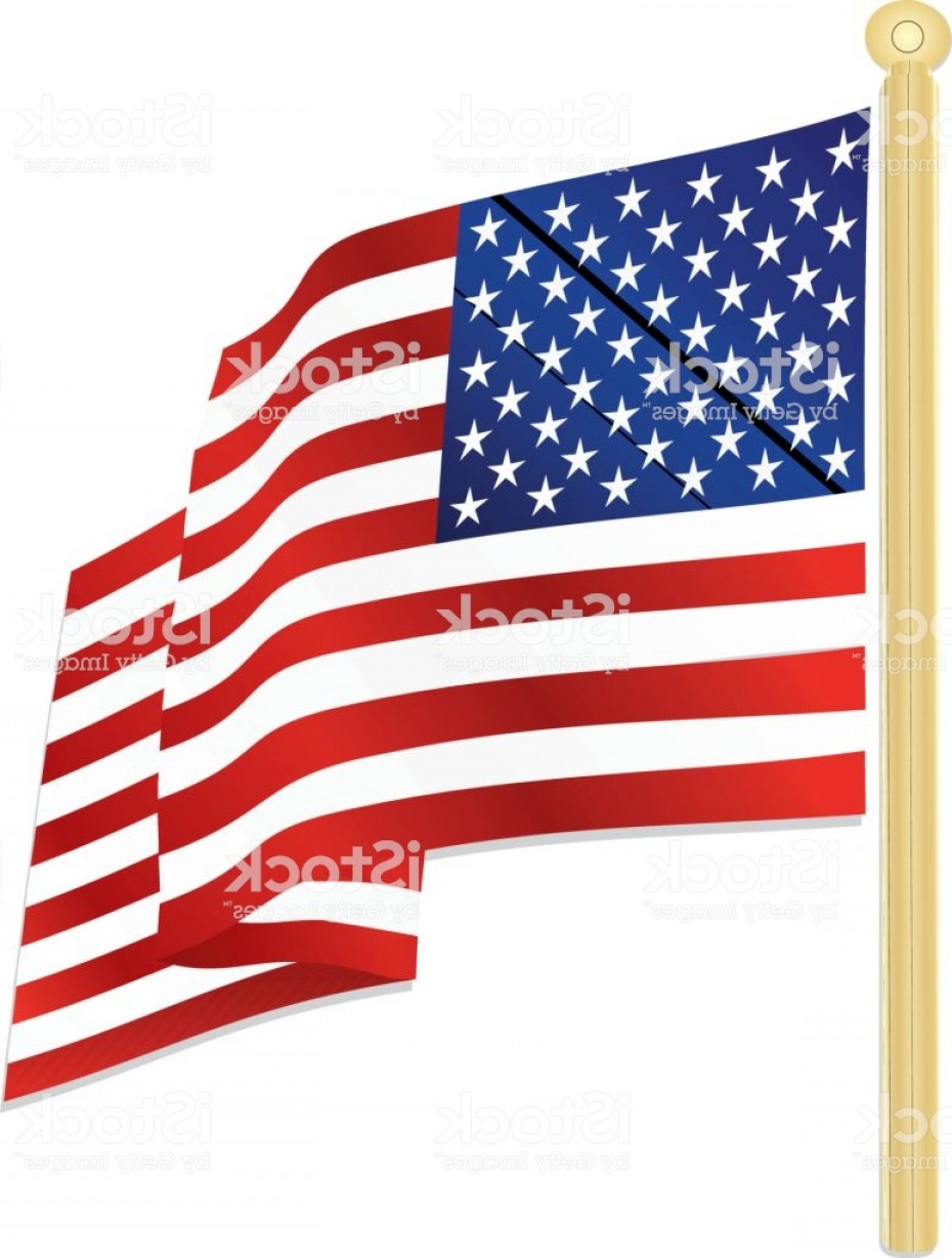 American Flag On Pole Vector: Classic Usa Flag Waving In The Wind With Gold Flagpole Gm