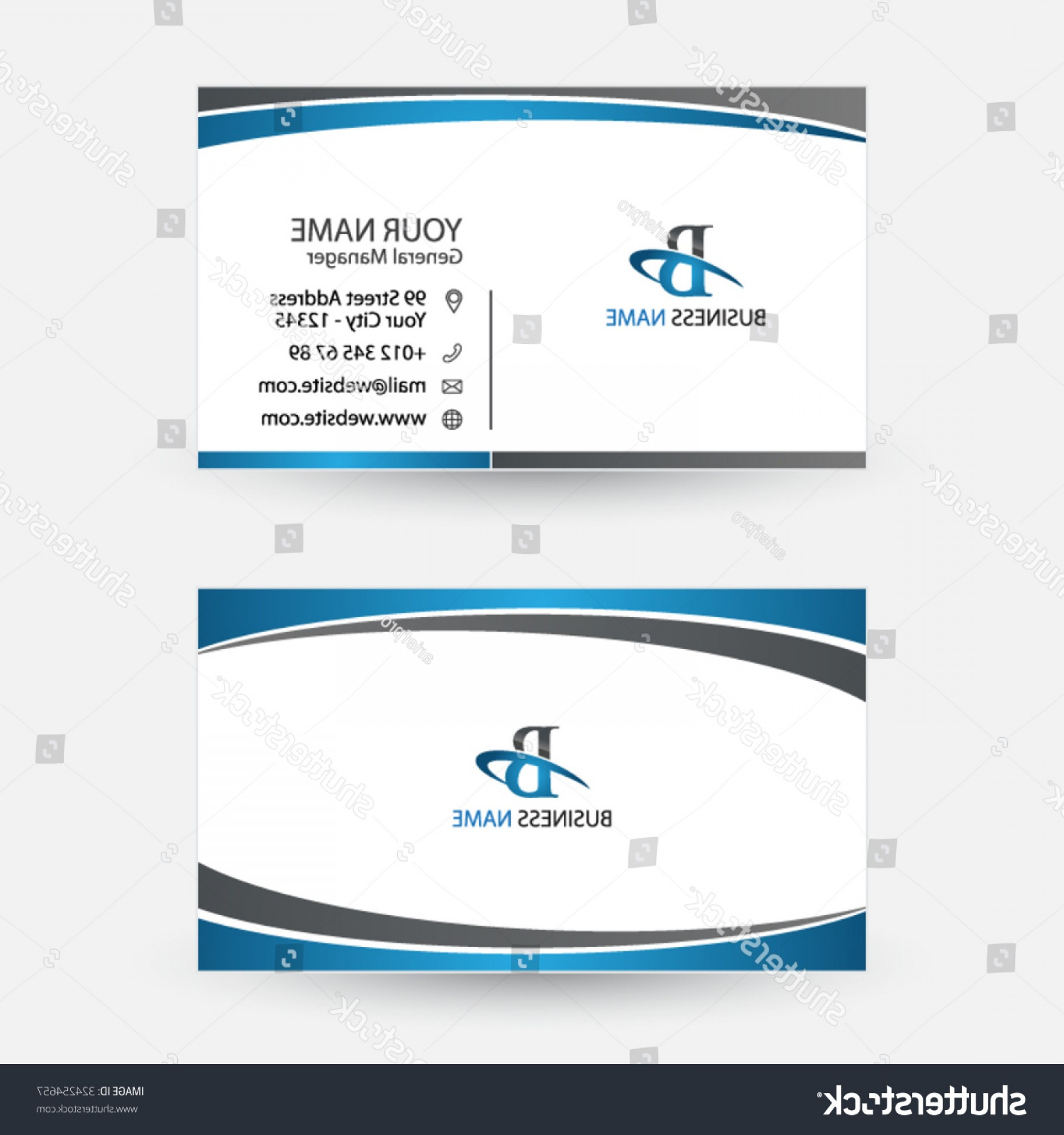 Vector Swoosh Simple Two Line: Clean Simple Modern Business Card Spiral