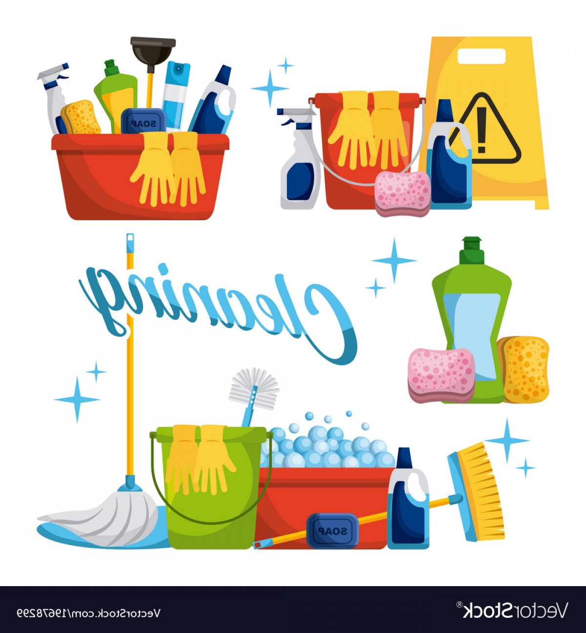Mop And Bucket Clip Art Vector: Cleaning Elements Set With Brooms Bucket Mop Spray Vector