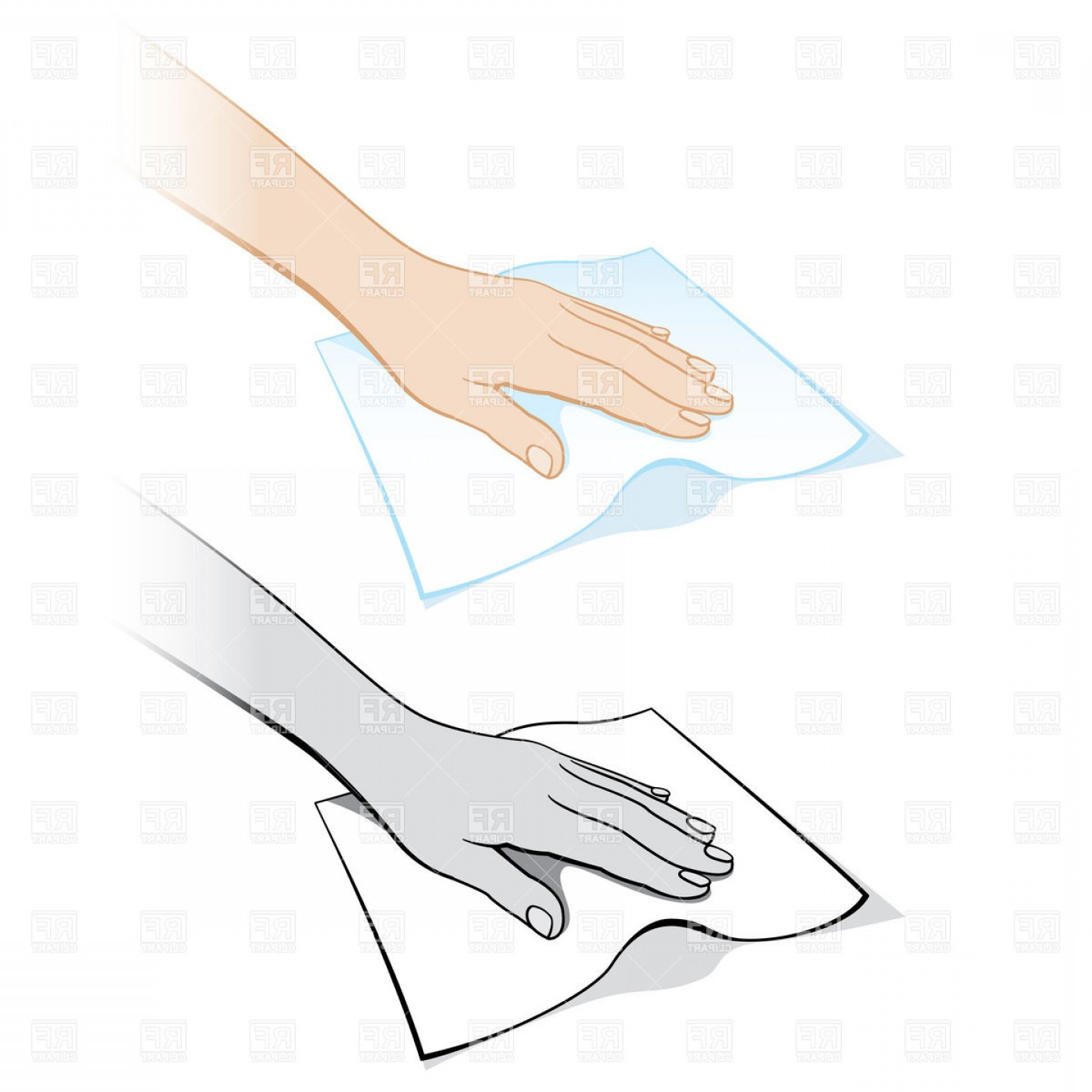Hand Vector Clip Art: Cleaning Hand With A Rag Vector Clipart