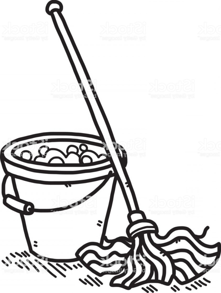 Mop And Bucket Clip Art Vector: Cleaning Mop And Water Bucket Gm