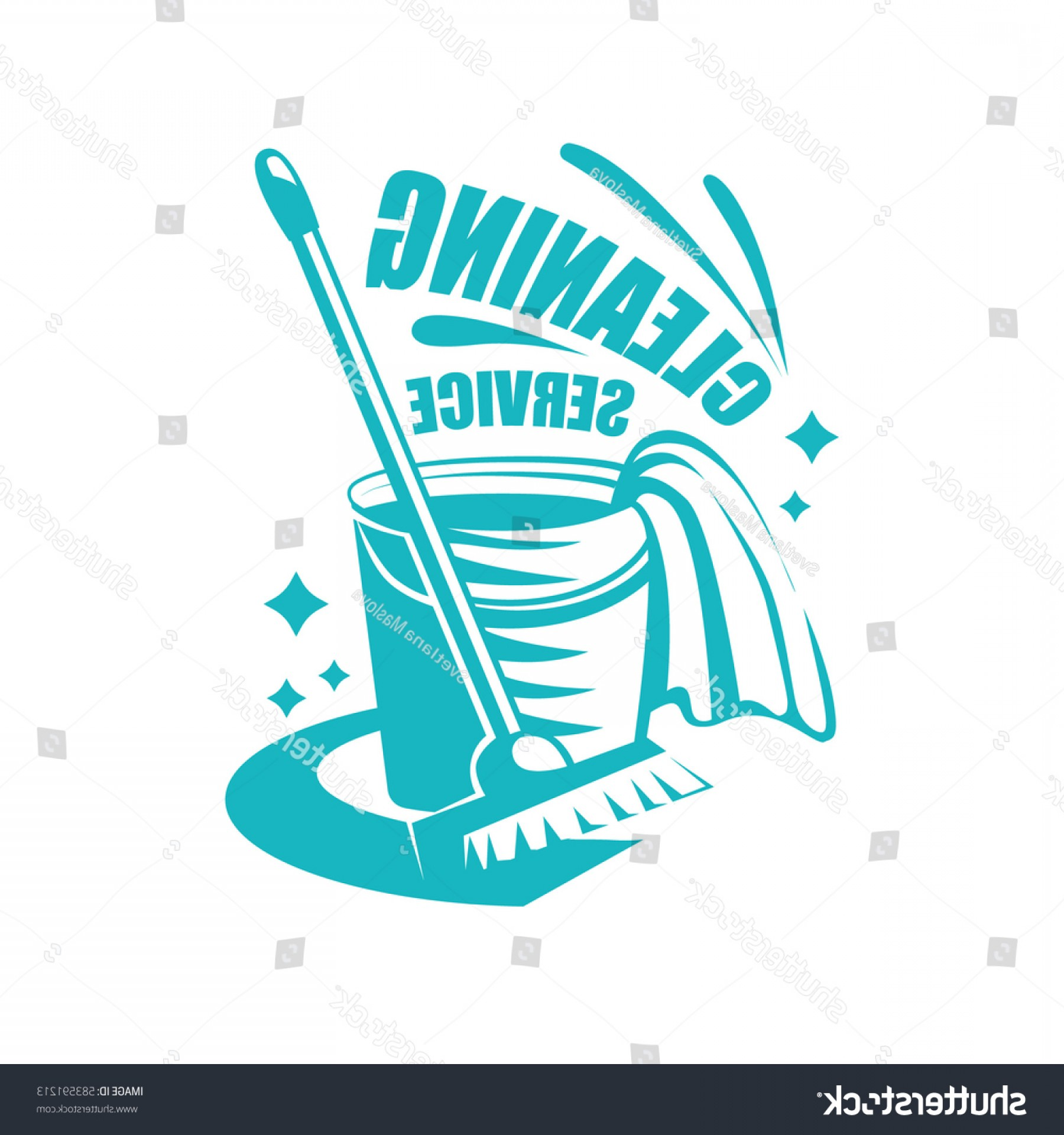 Mop And Bucket Clip Art Vector: Cleaning Service Logo Mop Rag Bucket