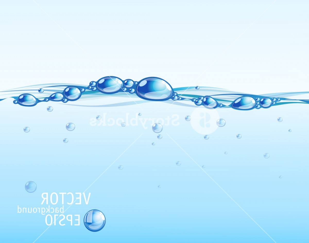 Water Flow Vector: Clear Blue Water Flow With Bubbles And Droplets Vector Bvfxkurvqozjgmypfe