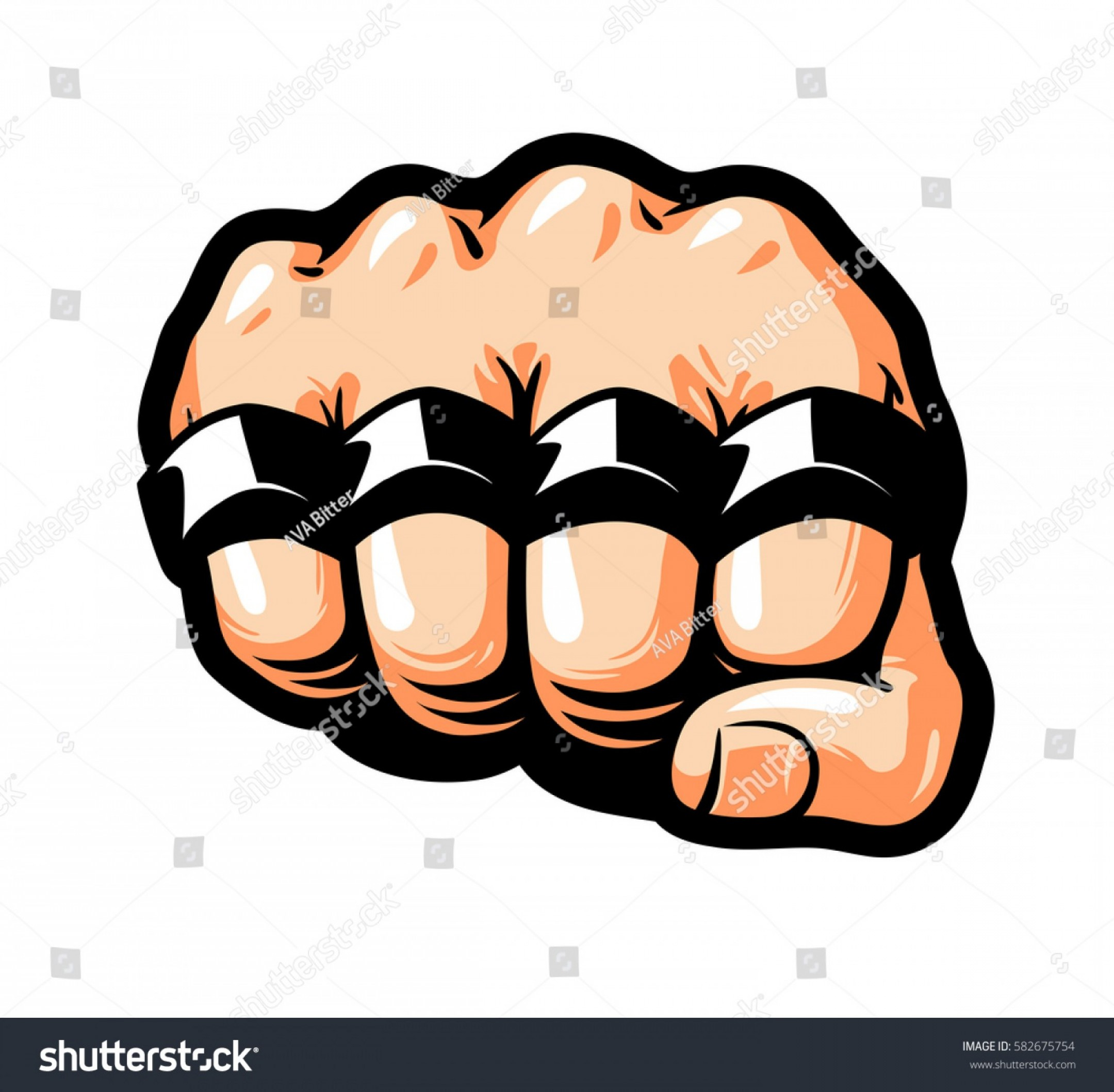Art Stencil Thug Vector: Clenched Fist Brass Knuckles Gangster Thug