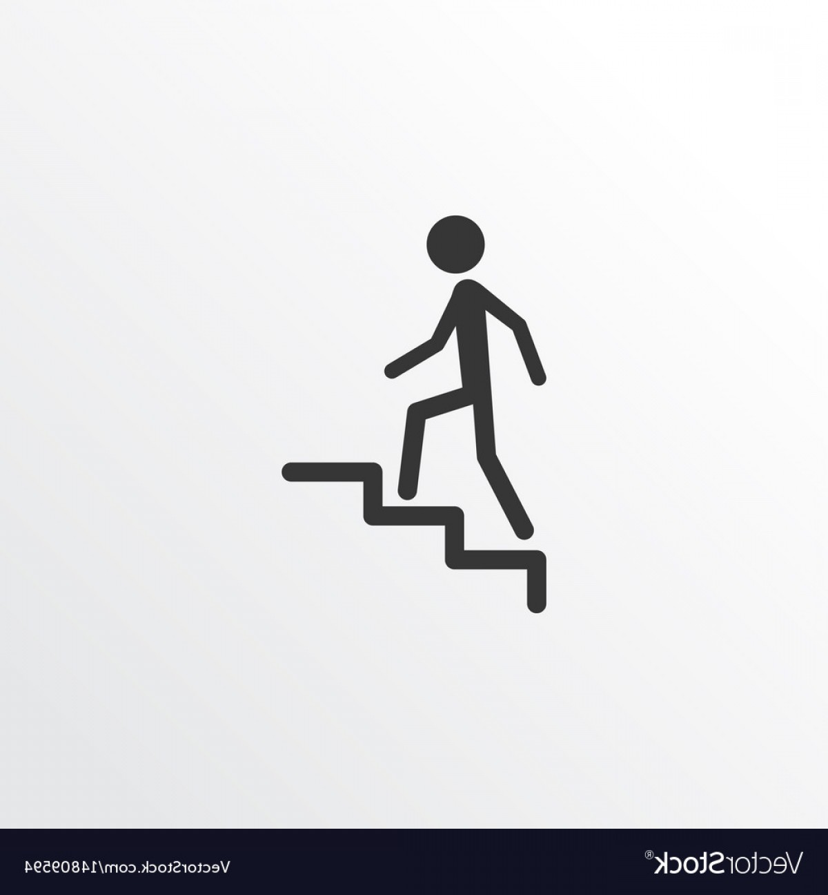 Stair Climb Vector: Climbing Stairs Icon Symbol Premium Quality Vector