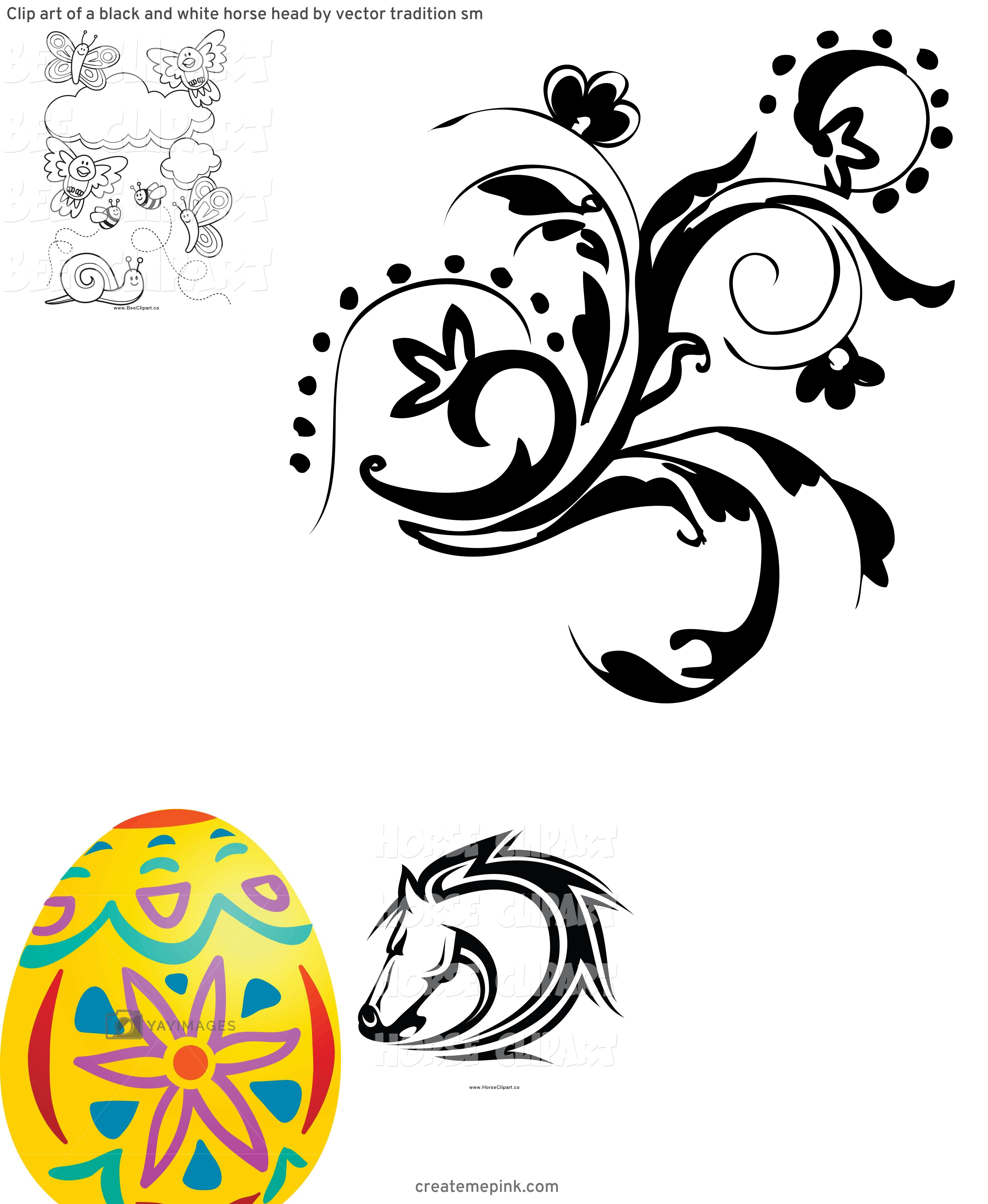 White Clip Art Vector Design: Clip Art Of A Black And White Horse Head By Vector Tradition Sm