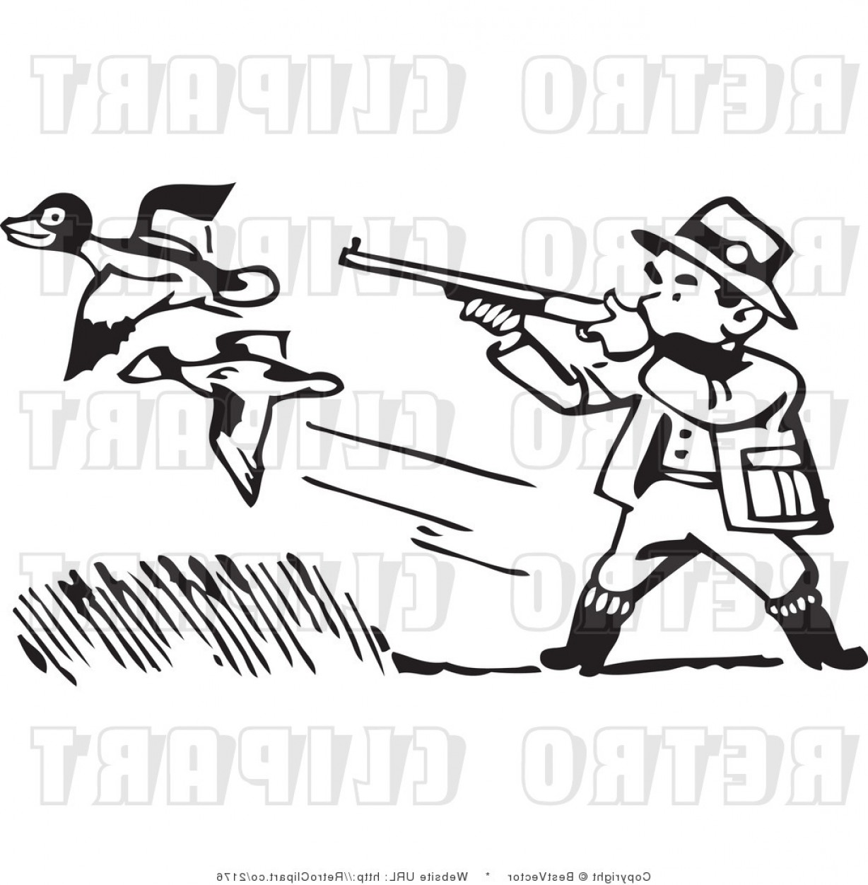 Vector Clip Art Hunting: Clip Art Of A Duck Hunter