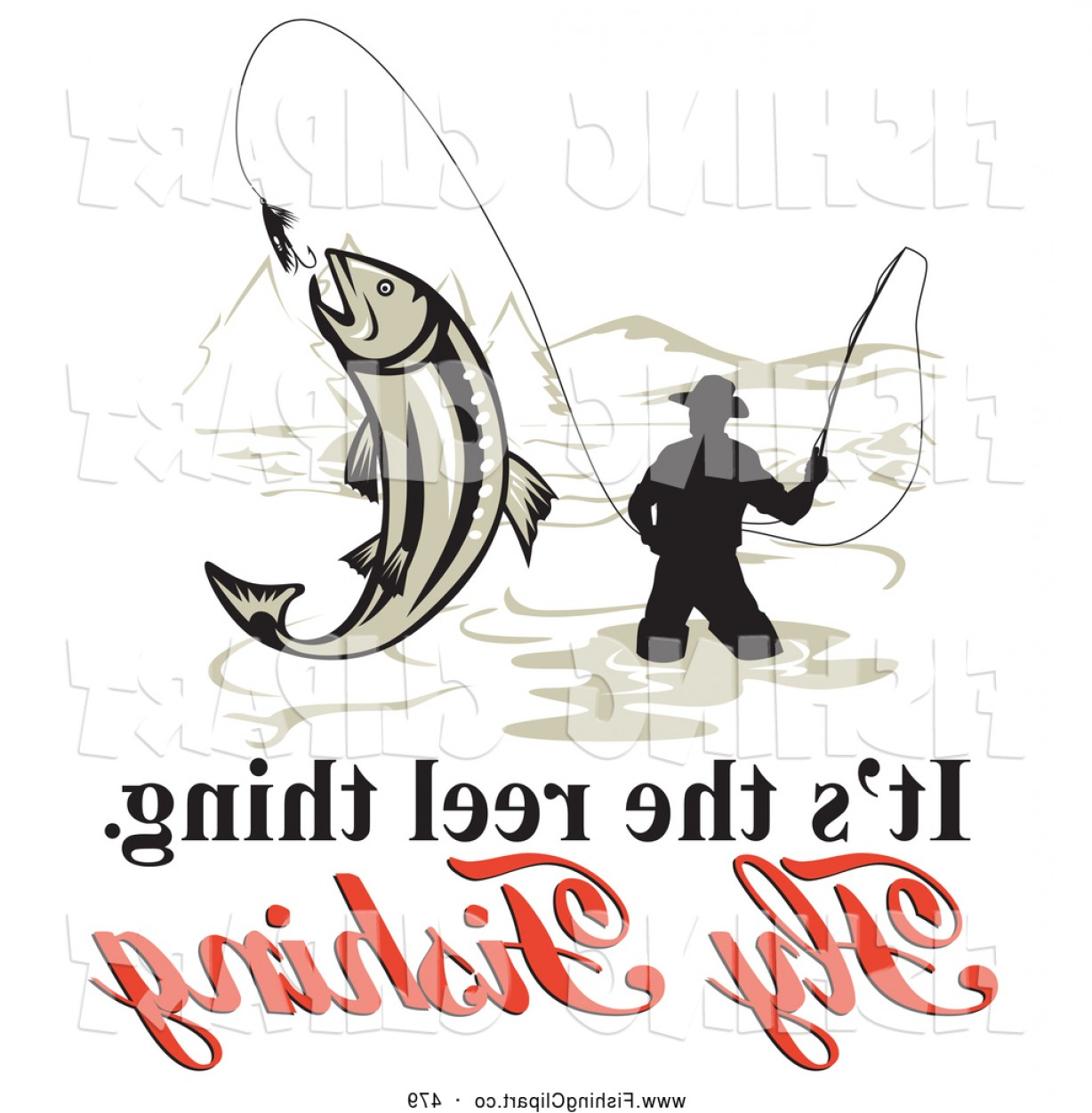 Detailed Vector Art Fly Fisherman: Clip Art Of A Its The Reel Thing Fly Fishing Text Around A Fly Fisherman Over White By Patrimonio