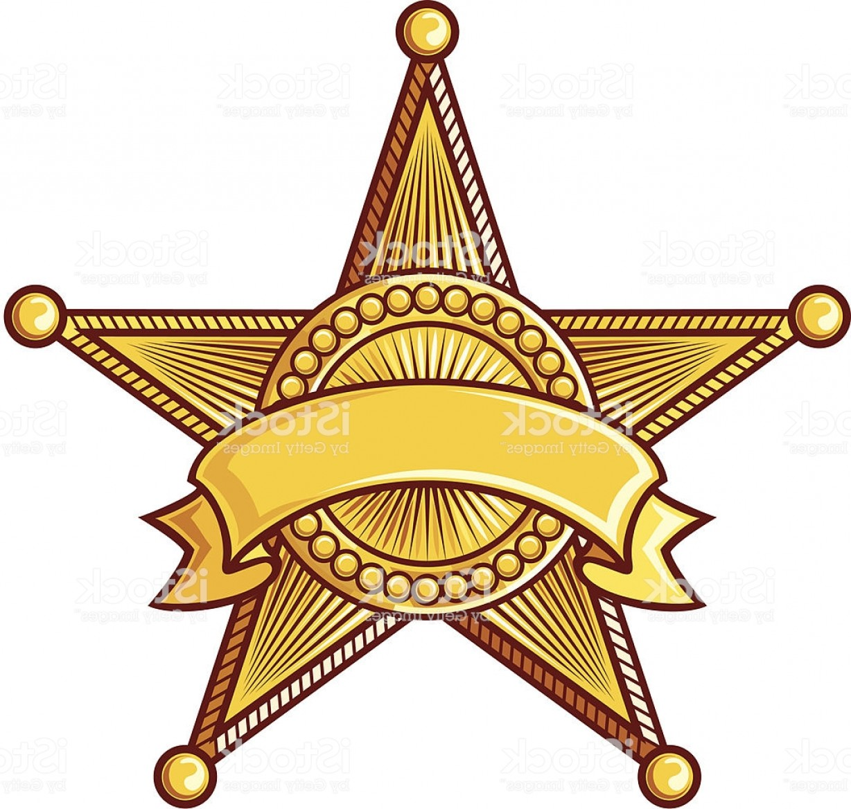 Star Badge Vector: Clip Art Of Sheriff Star Badge With Ribbon Around It Gm