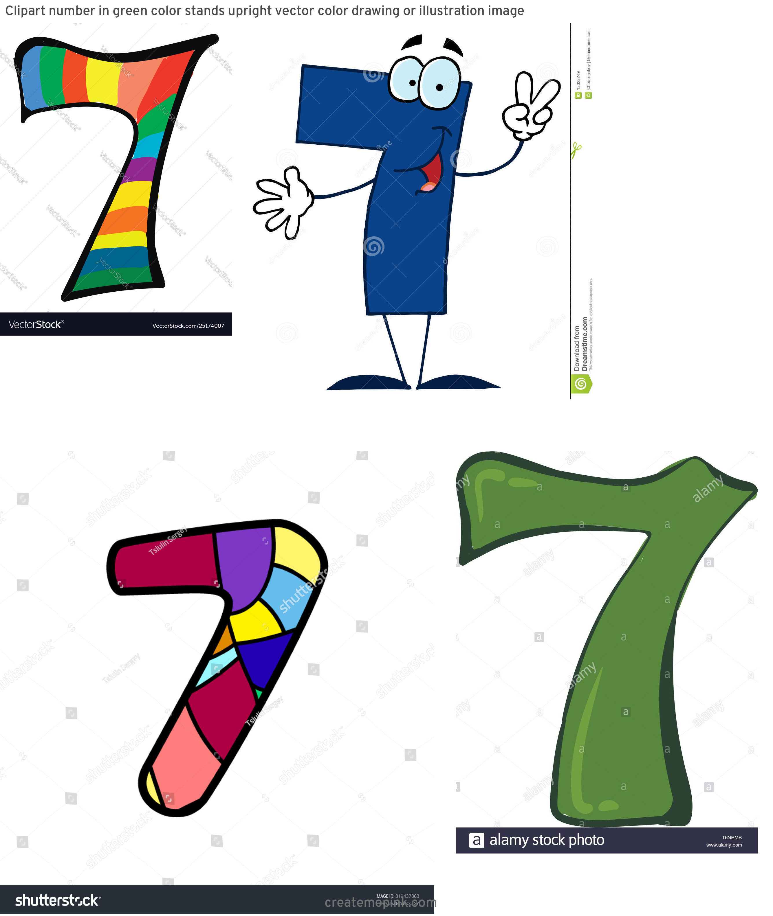 Stock Vector Number 7 Clip Art: Clipart Number In Green Color Stands Upright Vector Color Drawing Or Illustration Image