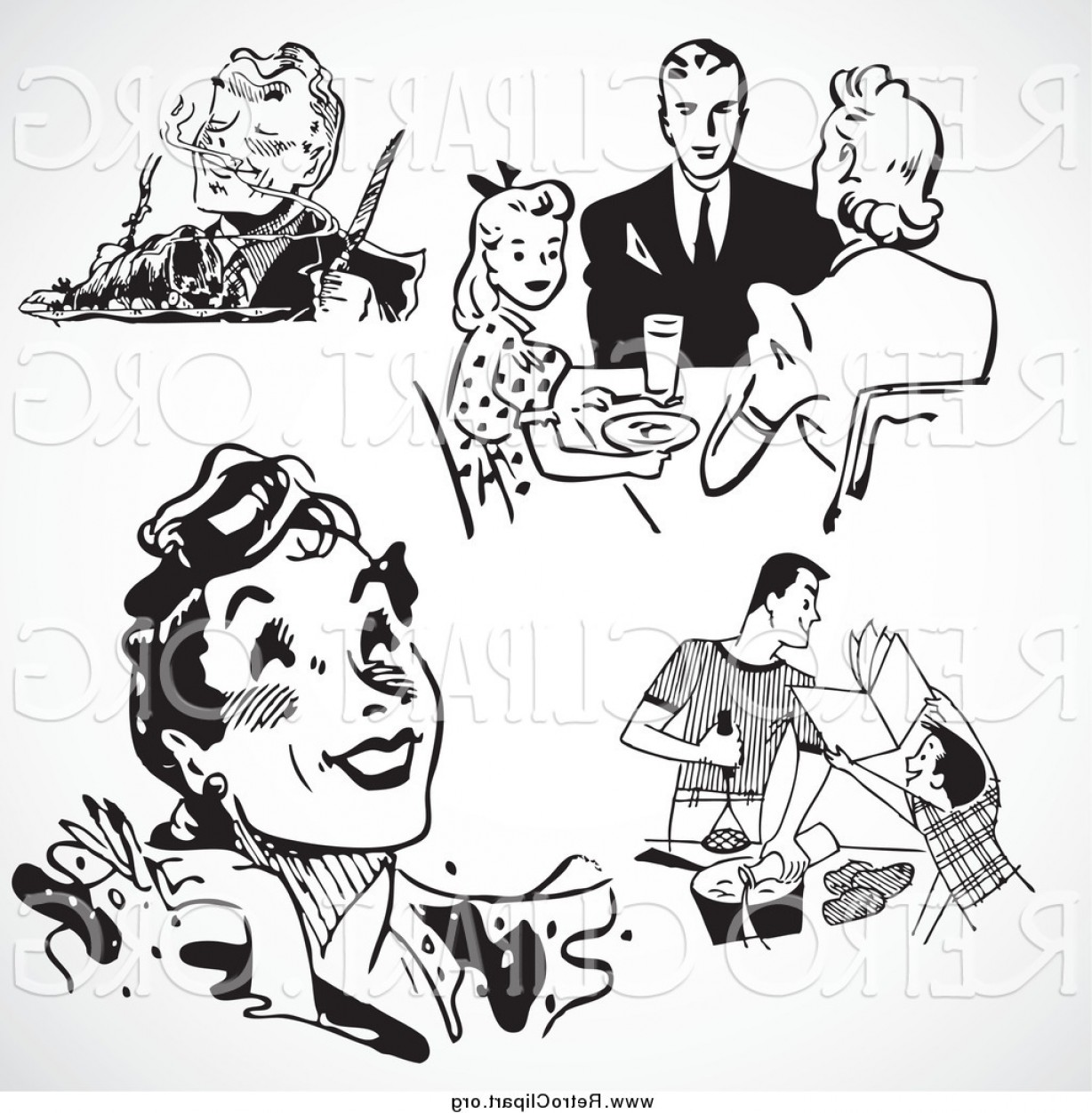 White Retro Vector People: Clipart Of Black And White Retro People And Food By Bestvector