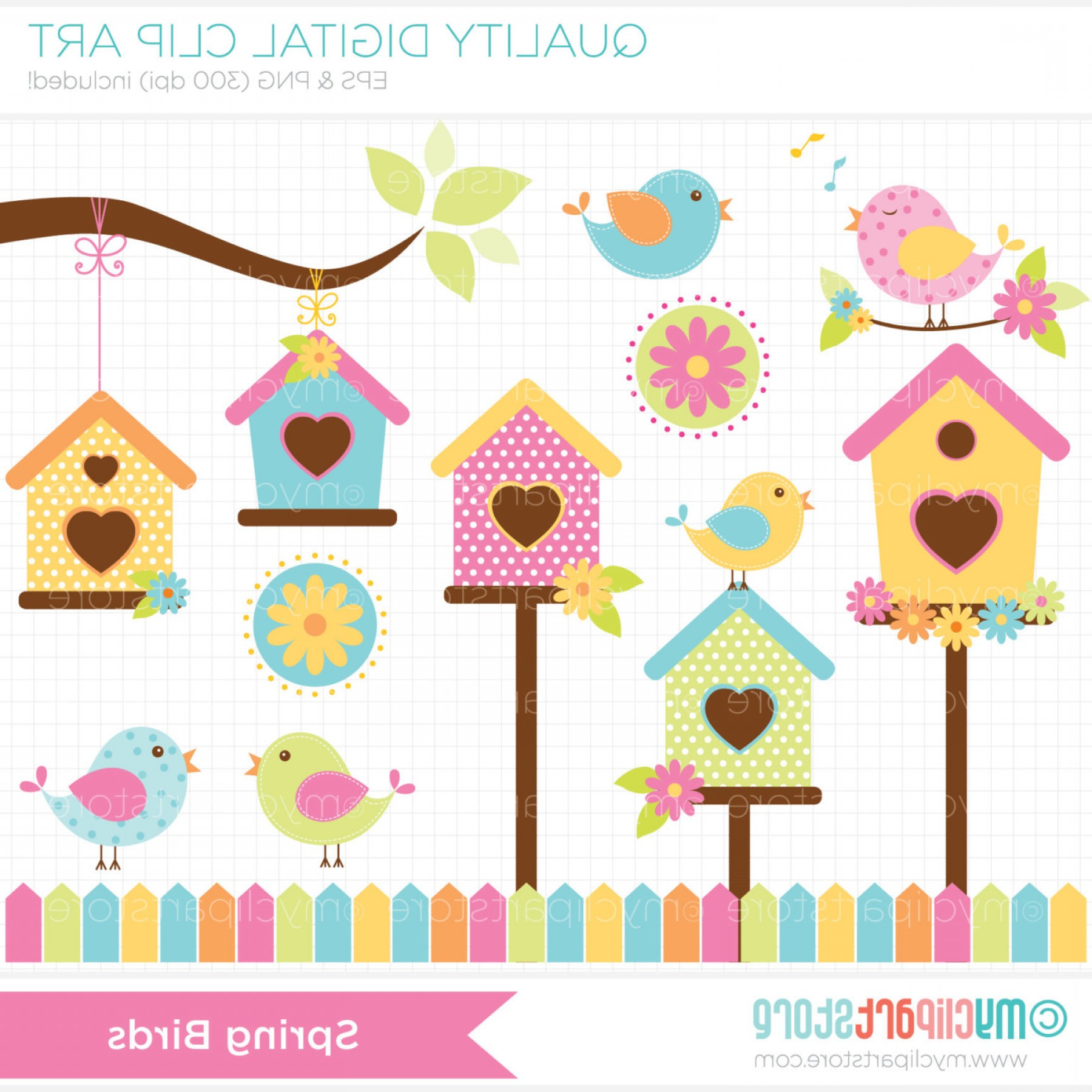 Vector Bird House: Clipart Spring Birds Bird House Garden