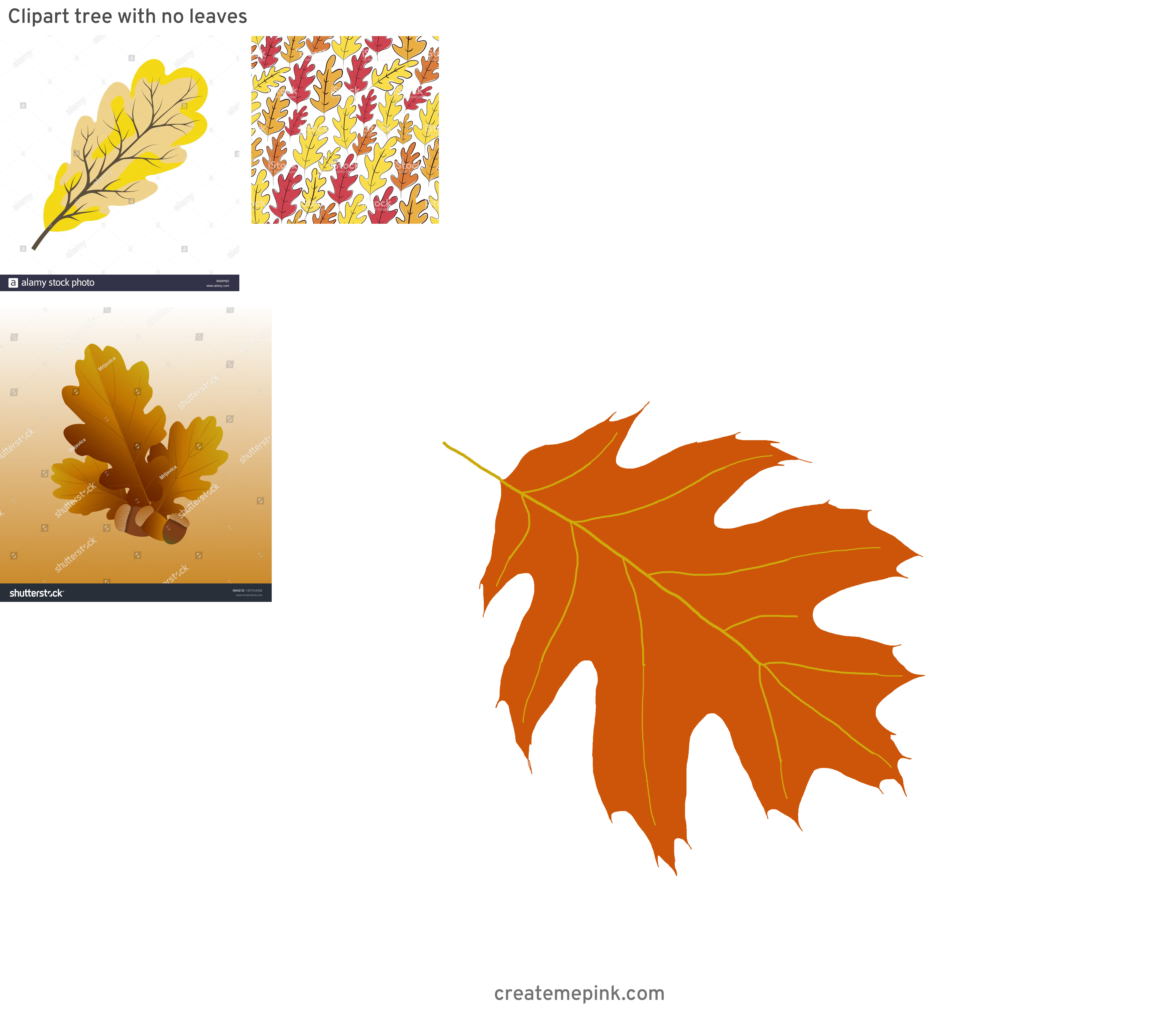 Falling Oak Leaves Vector: Clipart Tree With No Leaves
