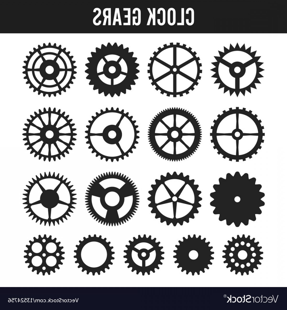 Watch Gears Vector: Clock Gears Black Icons Isolated On White Vector