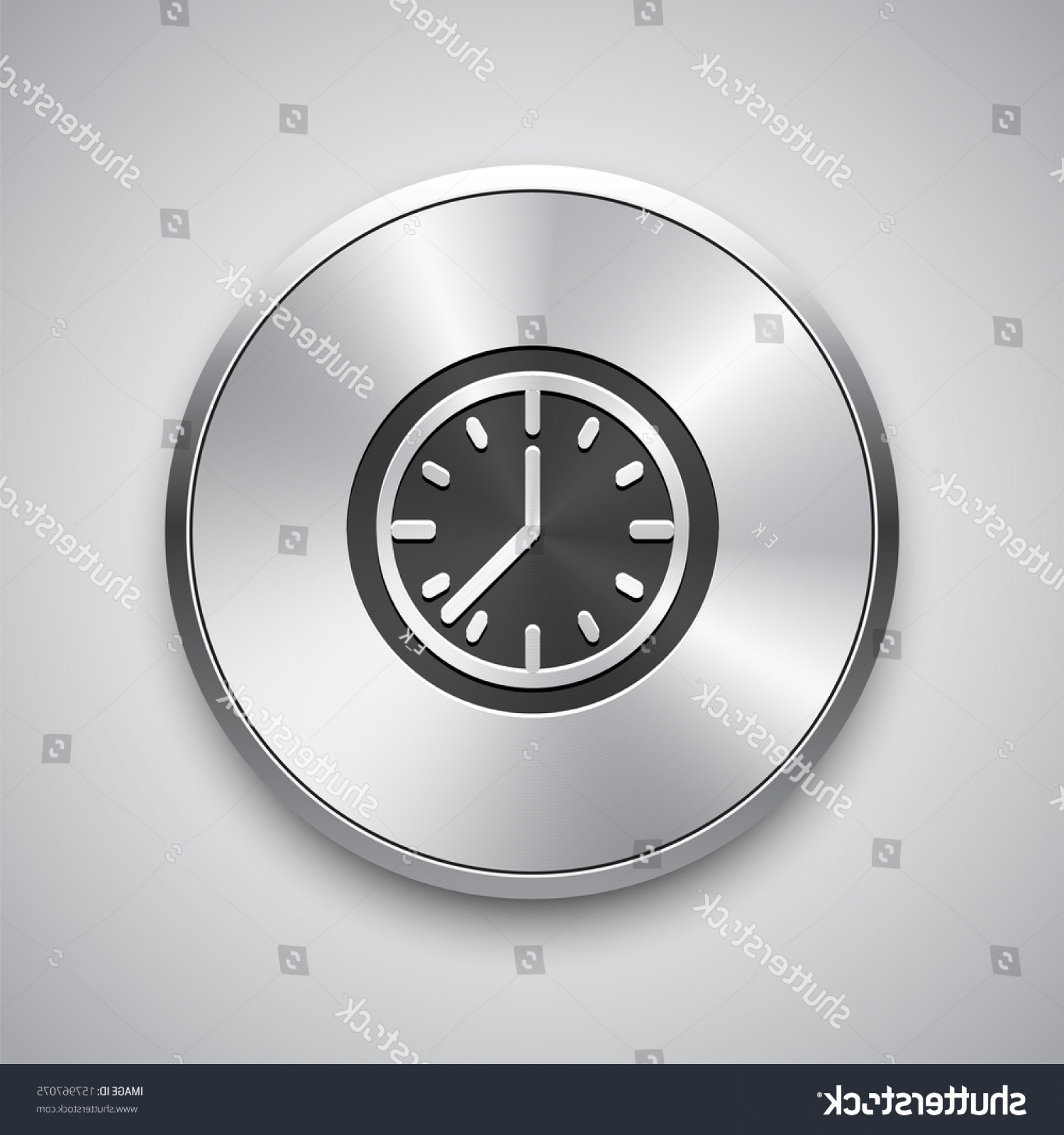 Metal Button Vector: Clock Icon On Metal Button Vector