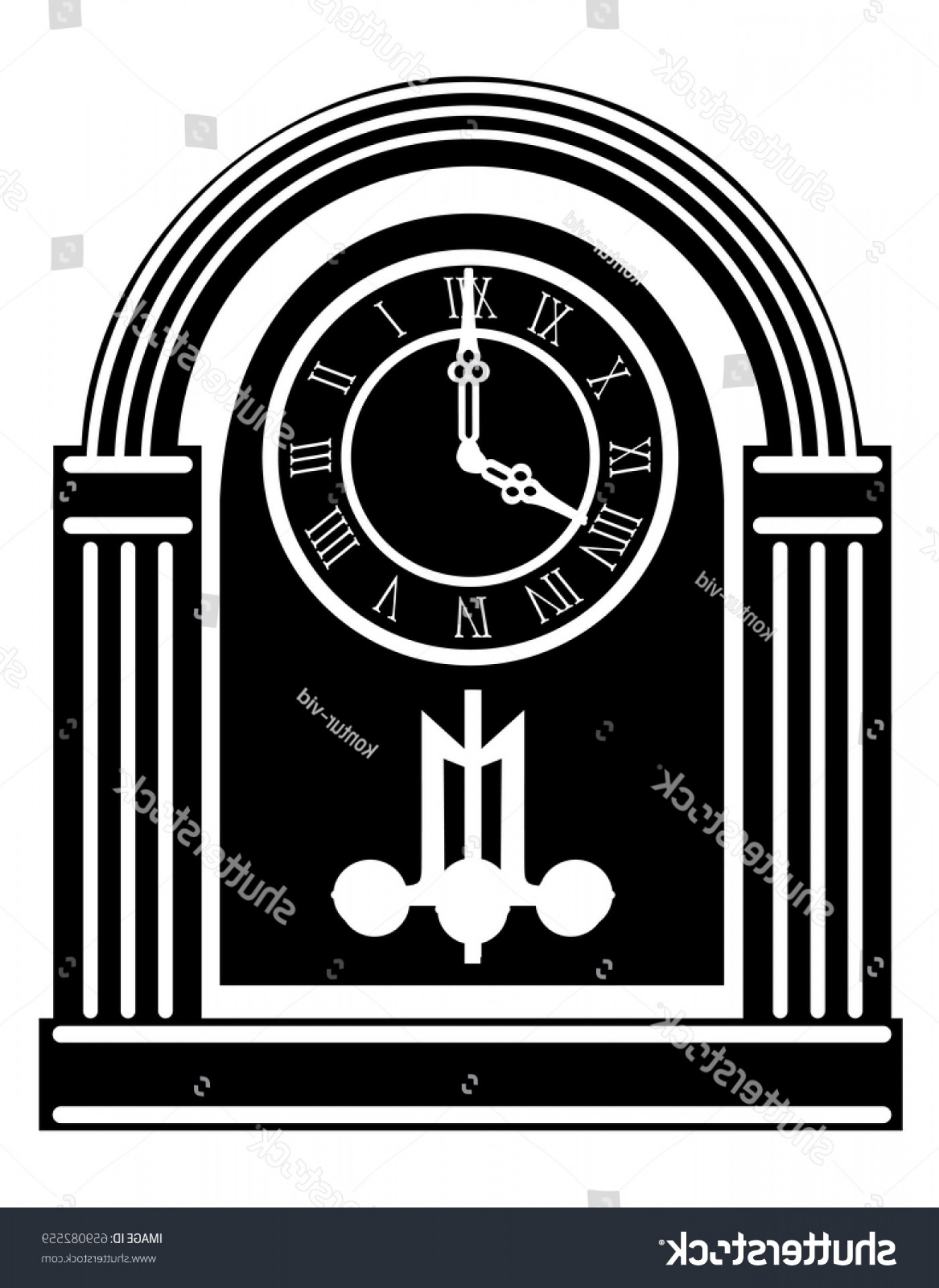 Old Floor Clock Vector: Clock Old Retro Vintage Icon Stock