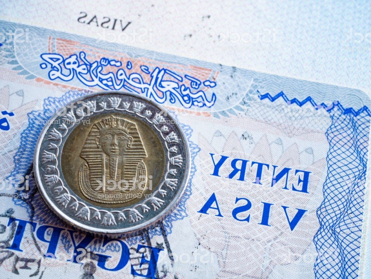 Egyptian Money Symbol Vector: Close Up Of Egypt Visa In Foreign Passport With Egyptian Pound Coin Pharaoh Portrait Gm