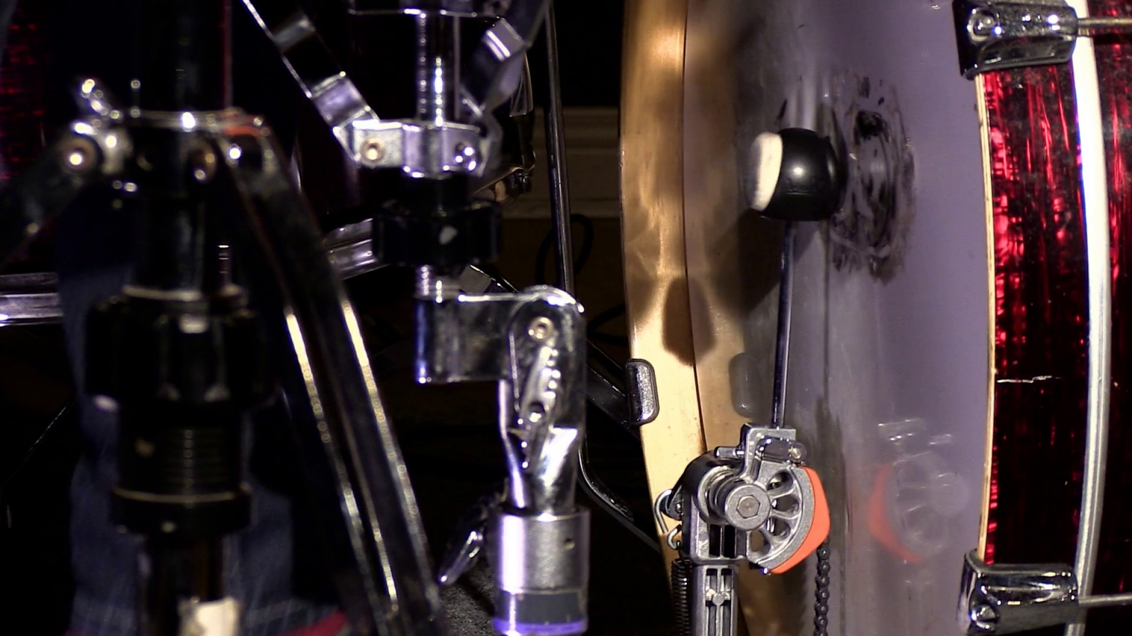 Vector Bass Drum Pedal: Close Up Shot Of A Drum Pedal Hitting The Bass Drum In Slow Motion Blouisfxizhaoaug