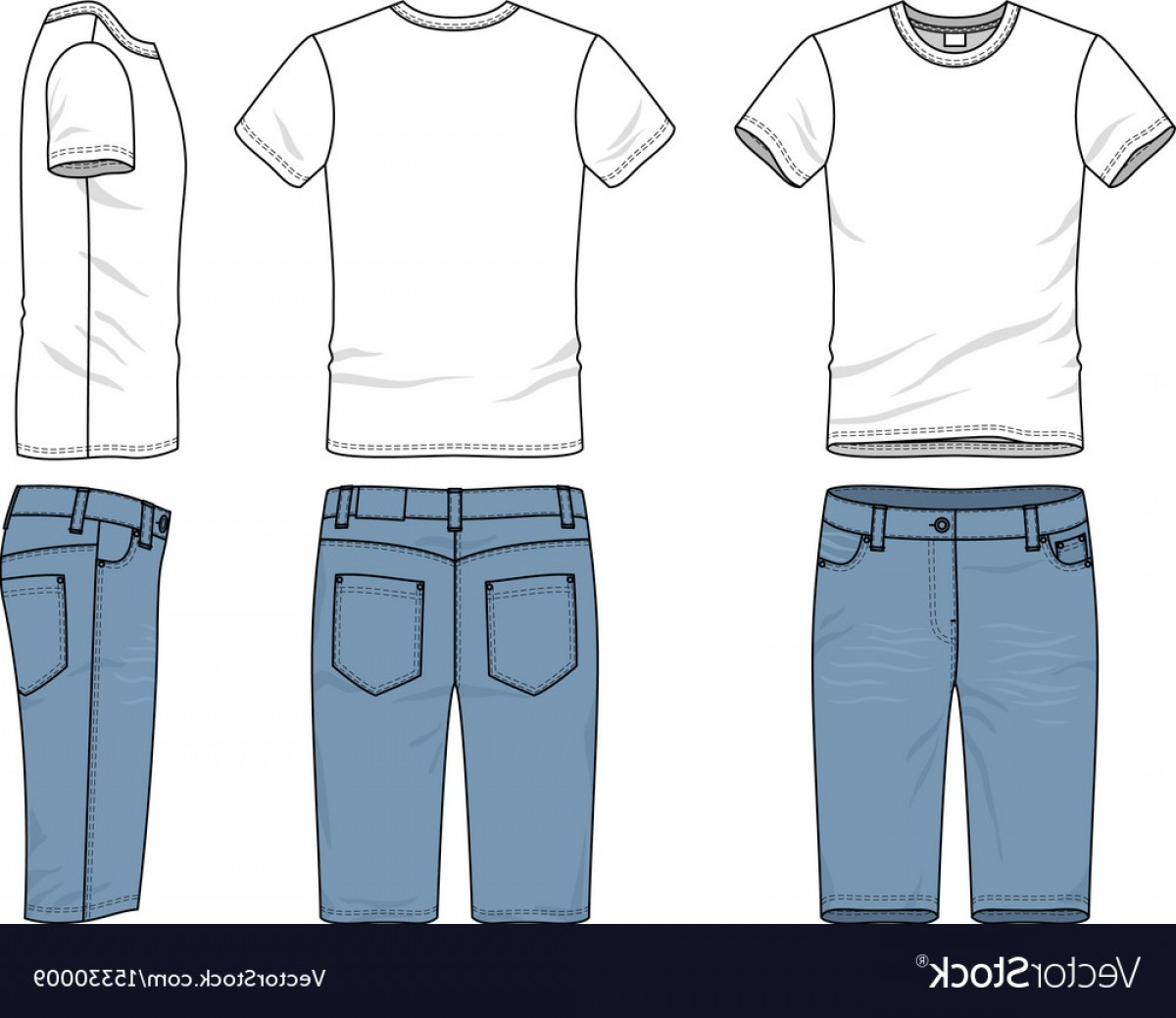 Vector Pocket Silhouette Shirt: Clothing Set Of T Shirt And Jeans Vector
