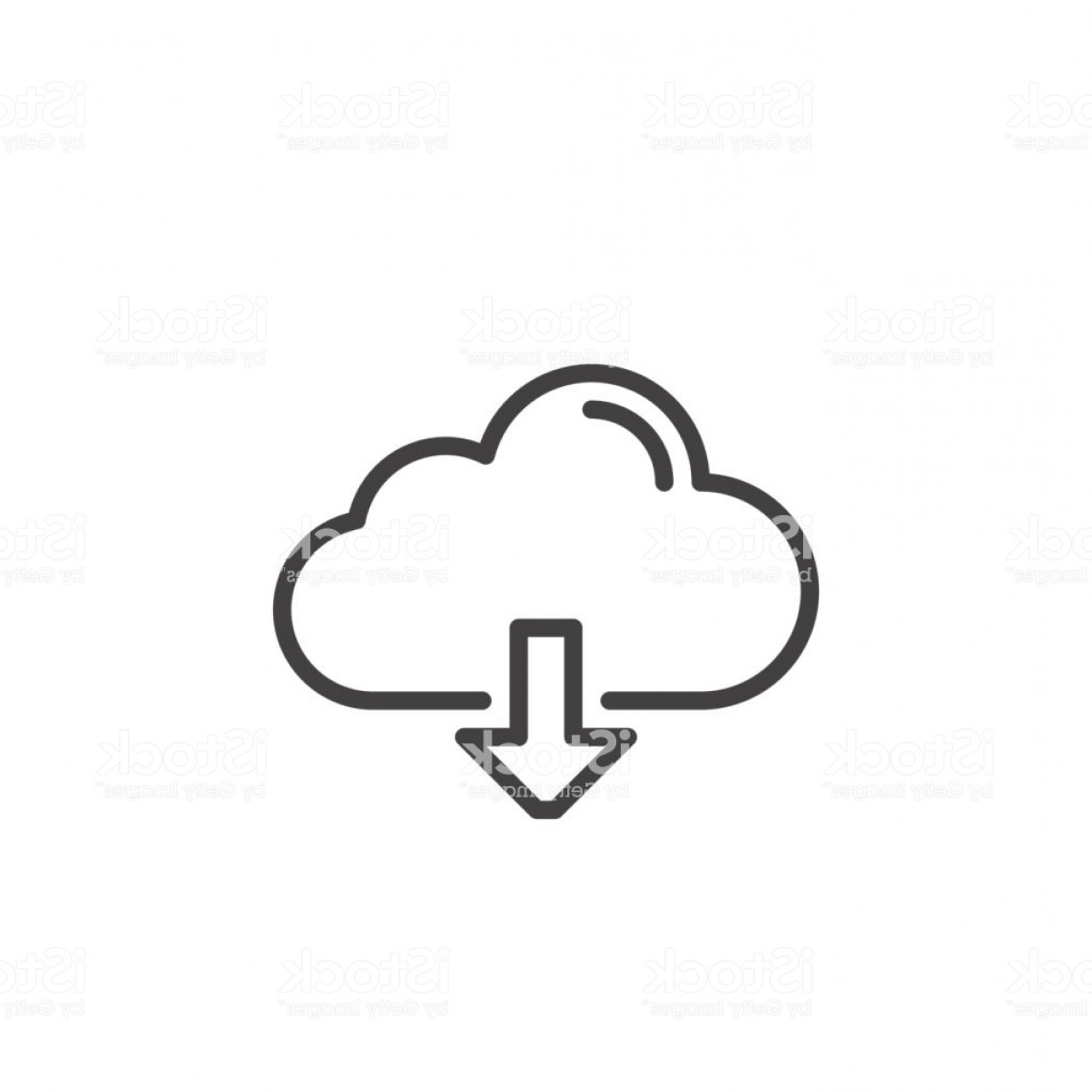 Downloadable Vector Art: Cloud Download Line Icon Outline Vector Sign Gm