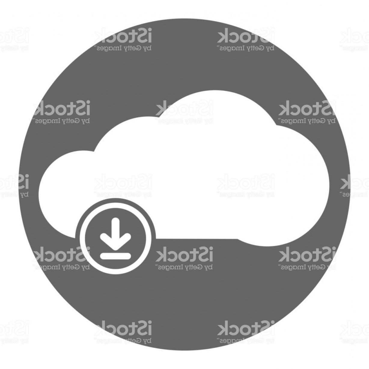 Downloadable Vector Art: Cloud Downloading Icon In Circle Vector Gm