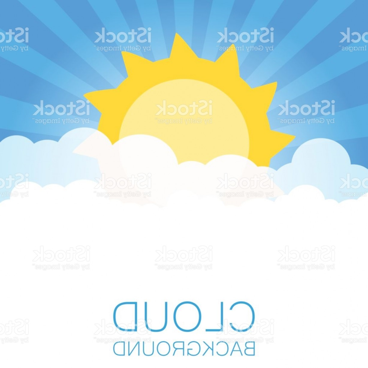 Blue Background Vector Cartoon Sun: Clouds In The Sky With Sun Rays Flat Vector Illustration In Cartoon Style Blue Gm