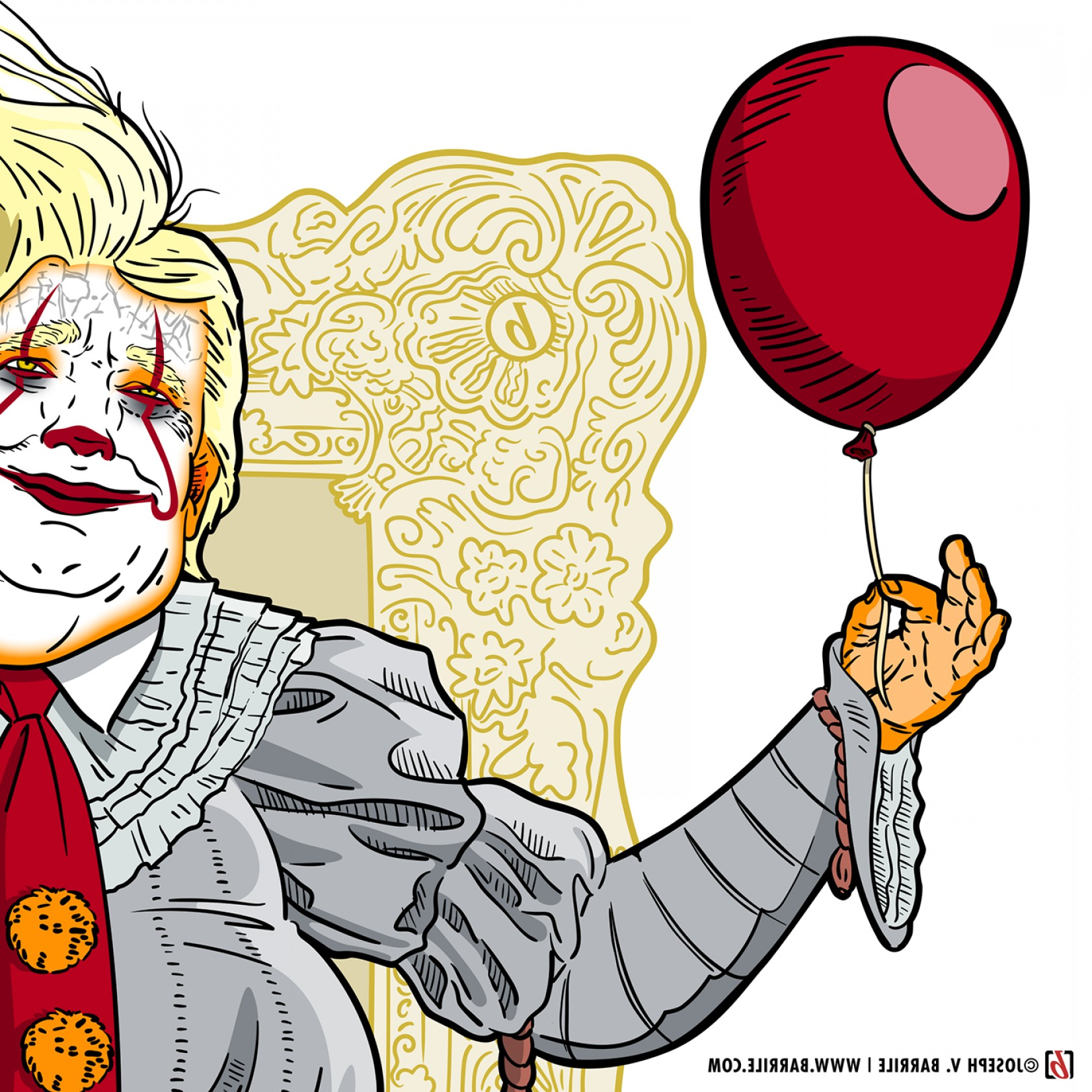 Pennywise Clown Vector: Clown Of The United States Golden Frame Edition