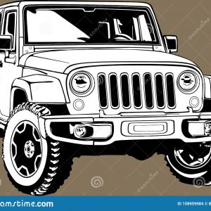 Vector Jeep JK: Classic American Vintage Retro Custom Car Jeep Wrangler Vector Graphic Silhouette One Biggest Icon Image